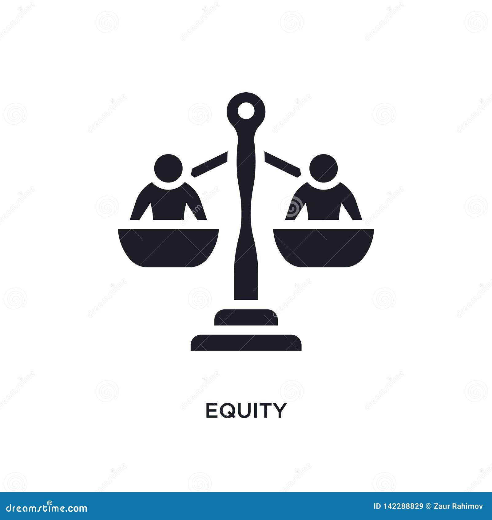 Icona isolata equità illustrazione semplice dell elemento dalle icone crowdfunding di concetto progettazione editabile di simbolo