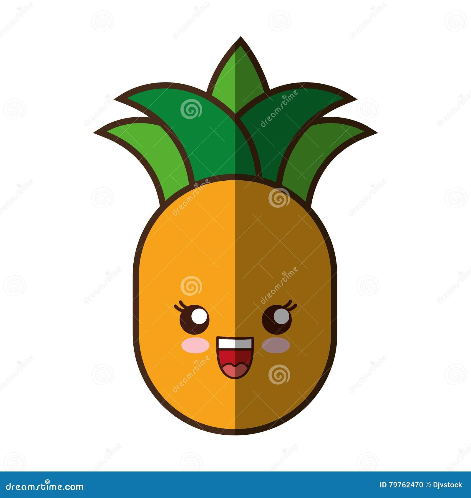 Icona Isolata Stile Di Kawaii Della Frutta Fresca Dell Ananas