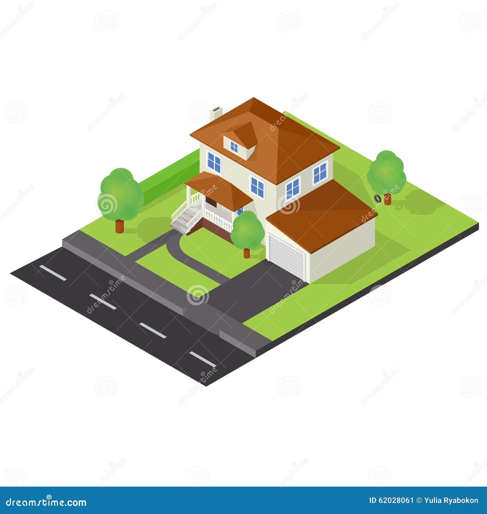 Icona isometrica del cottage illustrazione vettoriale for Planimetrie del cottage del cortile