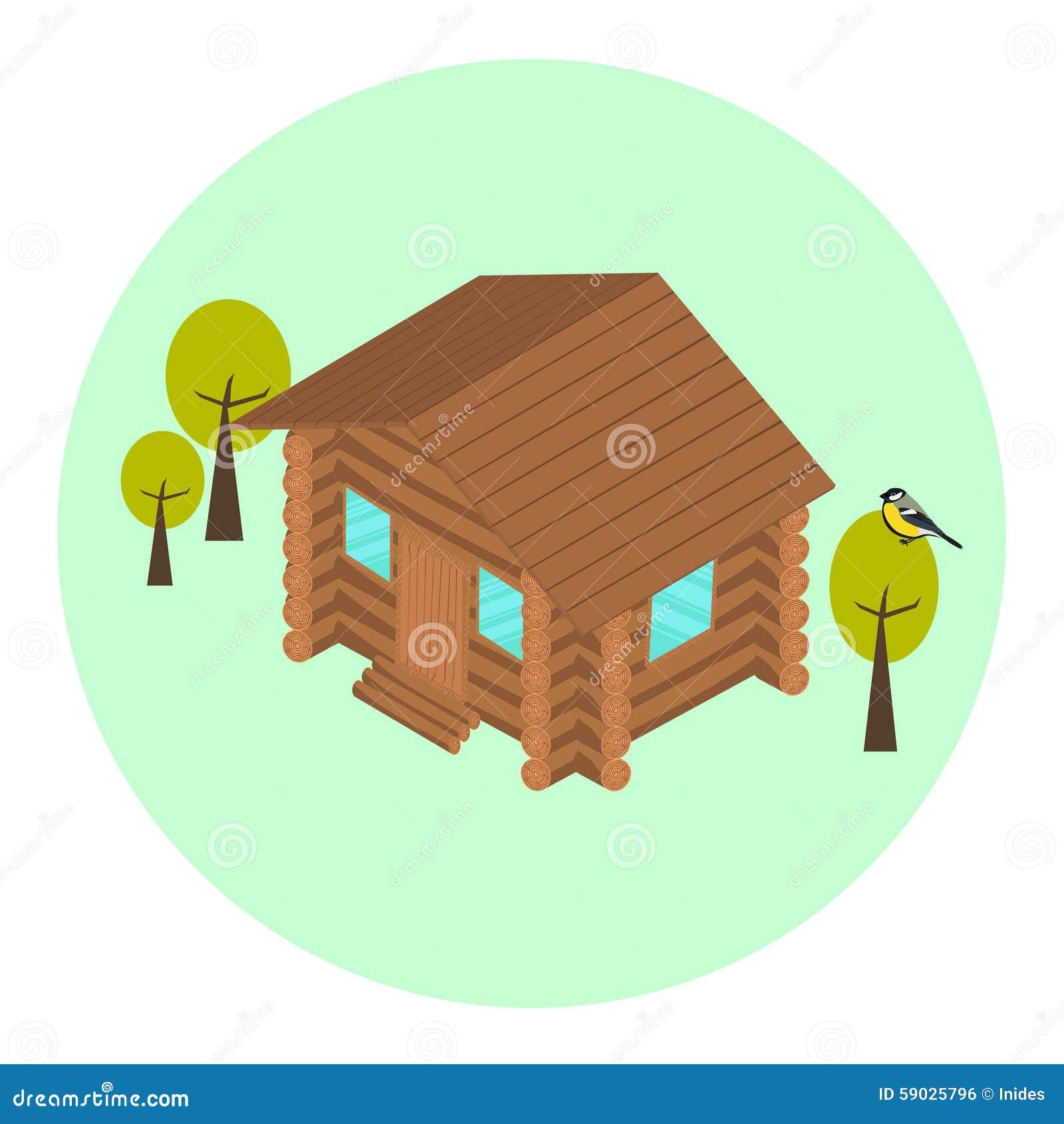 Icona isometrica della casa del ceppo di legno for Piani economici della cabina di ceppo