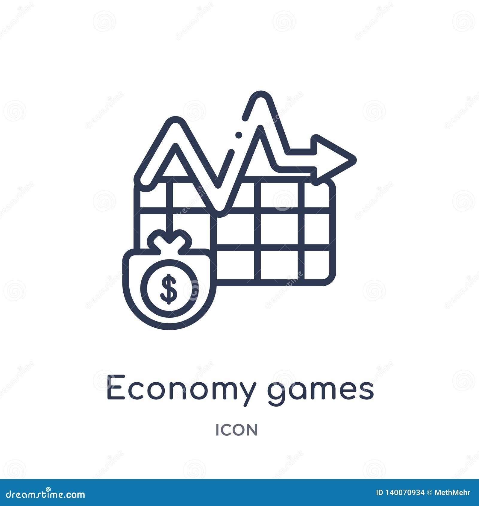 Icona lineare dei giochi di economia dalla raccolta del profilo di affari Linea sottile icona dei giochi di economia isolata su f