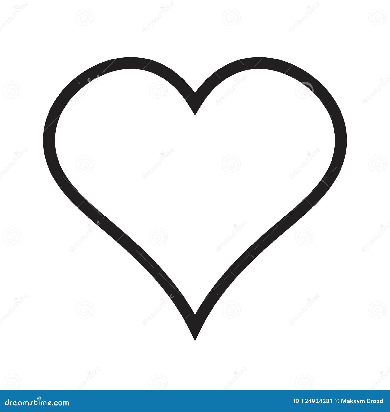 Icona lineare del cuore, icona di amore