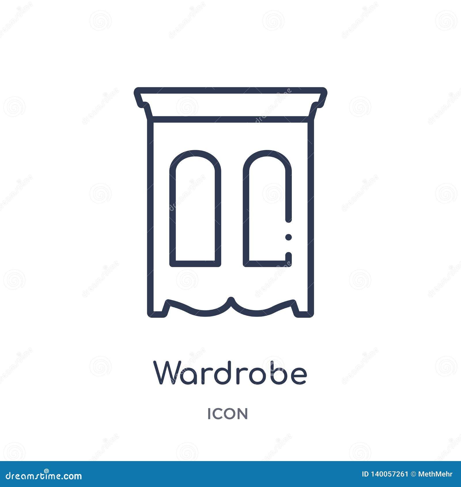 Icona lineare del guardaroba dalla raccolta del profilo della mobilia Linea sottile icona del guardaroba isolata su fondo bianco