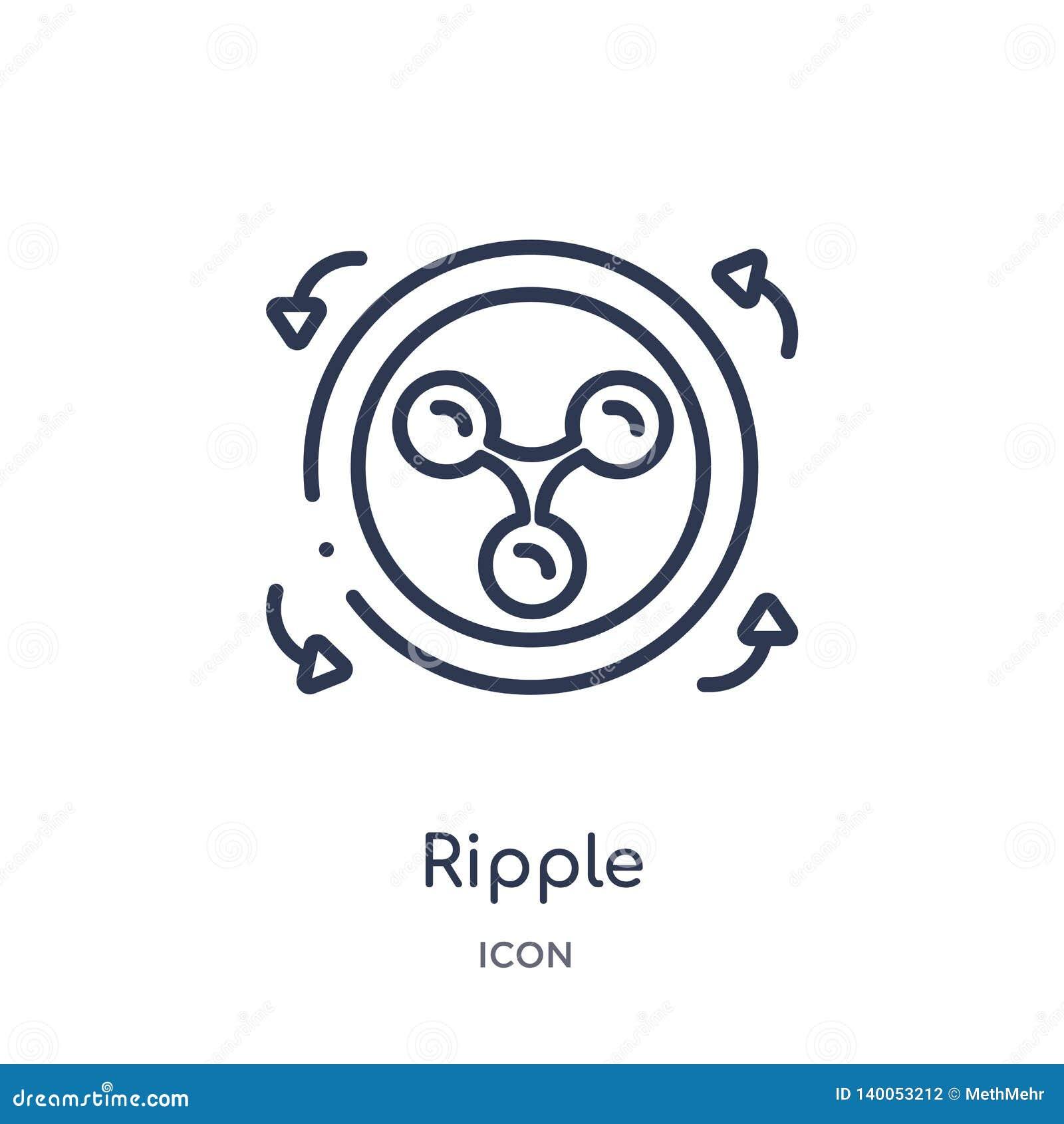 Icona lineare dell ondulazione da economia di Cryptocurrency e dalla raccolta del profilo di finanza Linea sottile vettore dell o