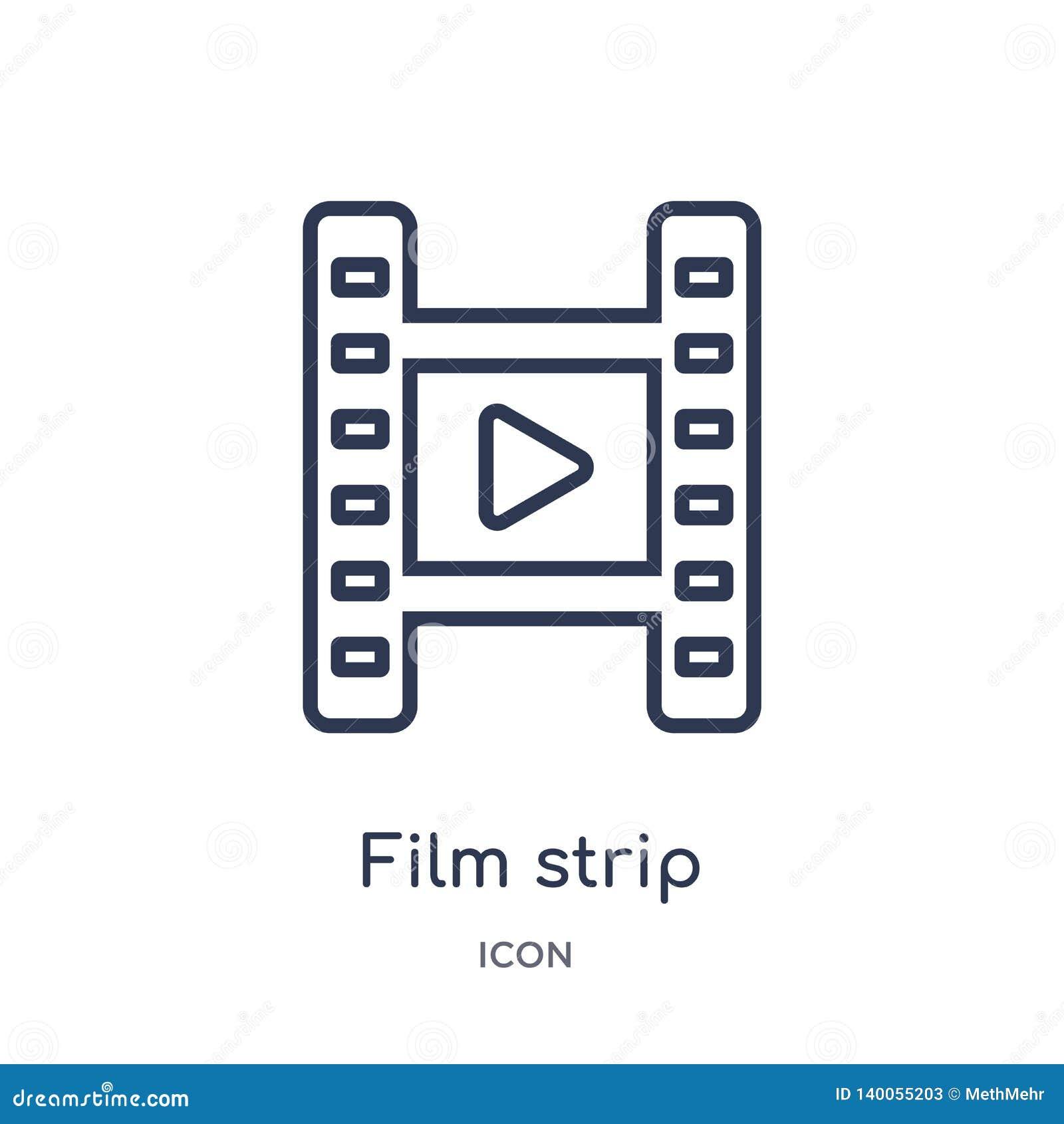 Icona lineare della striscia di pellicola dalla raccolta elettronica del profilo del materiale di riempimento della roba Vettore