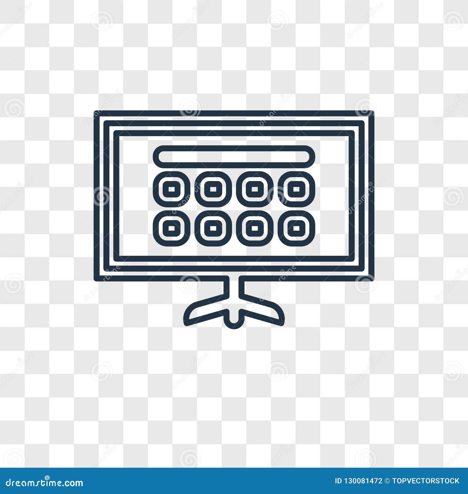 Icona lineare della TV di vettore astuto di concetto sulla parte posteriore trasparente