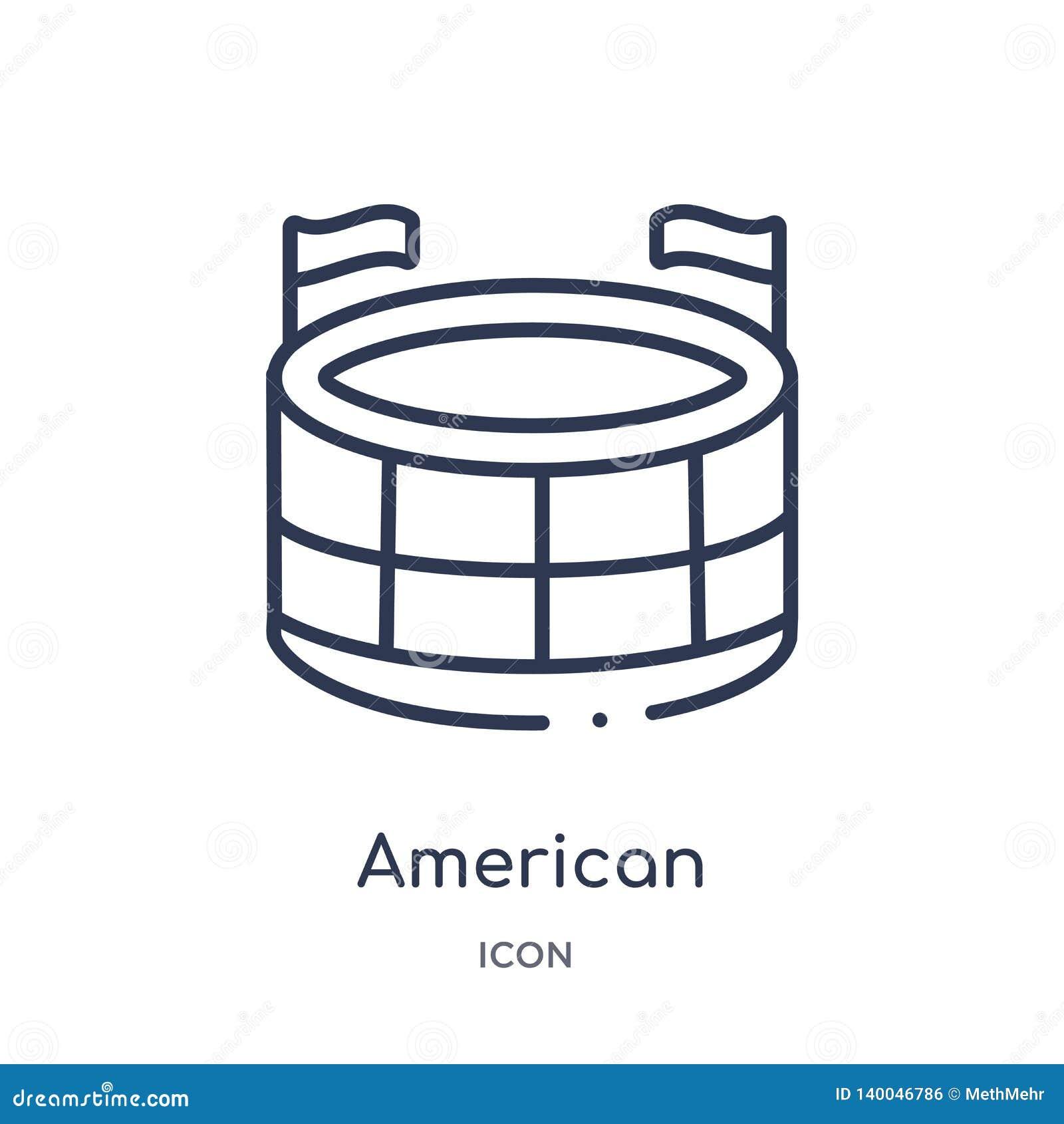 Icona lineare dello stadio di football americano dalla raccolta del profilo di football americano Linea sottile vettore dello sta