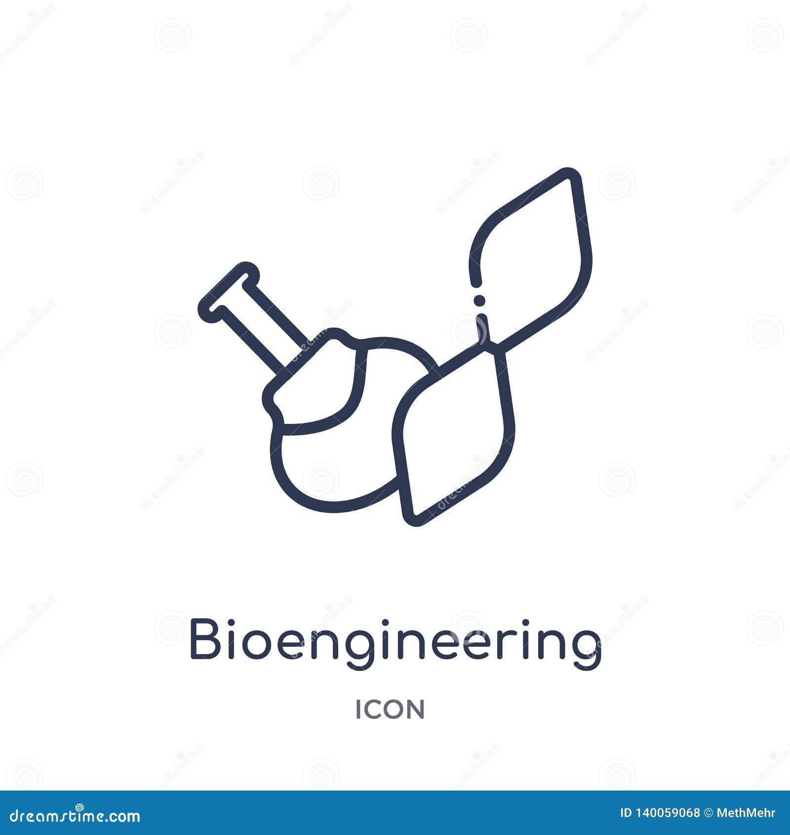 Icona lineare di bioingegneria dalla raccolta del profilo generale Linea sottile icona di bioingegneria isolata su fondo bianco