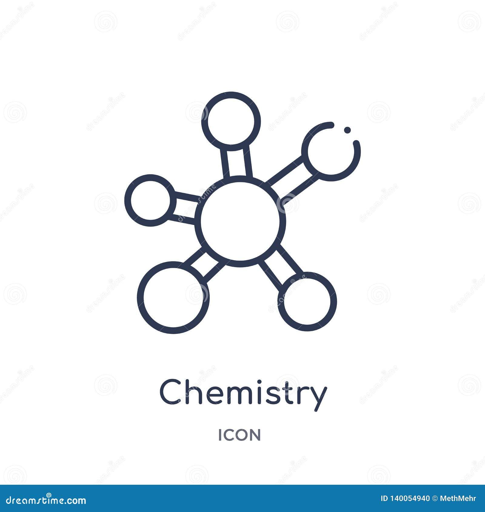 Icona lineare di chimica dalla raccolta del profilo di istruzione Linea sottile vettore di chimica isolato su fondo bianco chimic