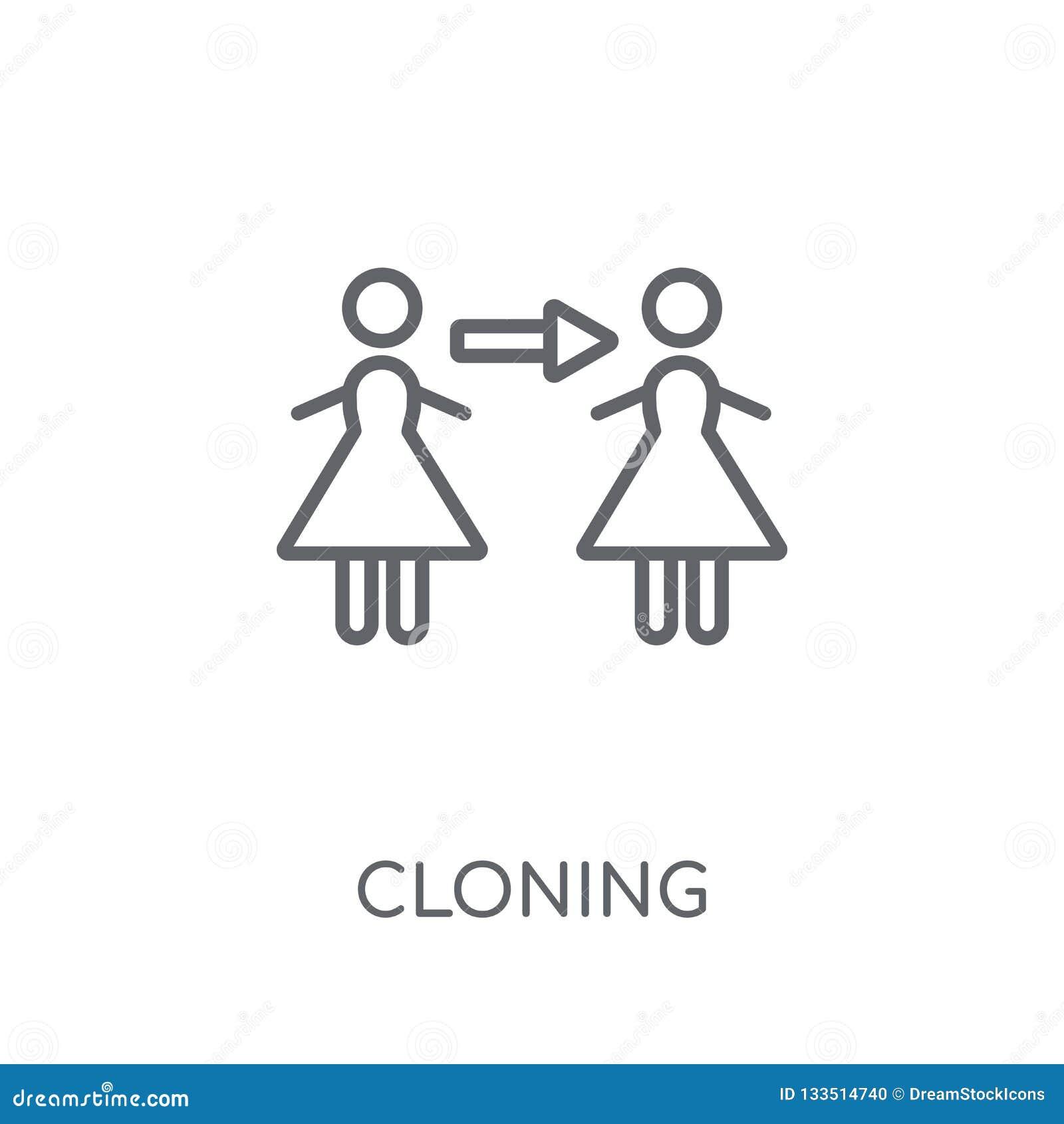 Icona lineare di clonazione Concetto di clonazione di logo del profilo moderno su briciolo