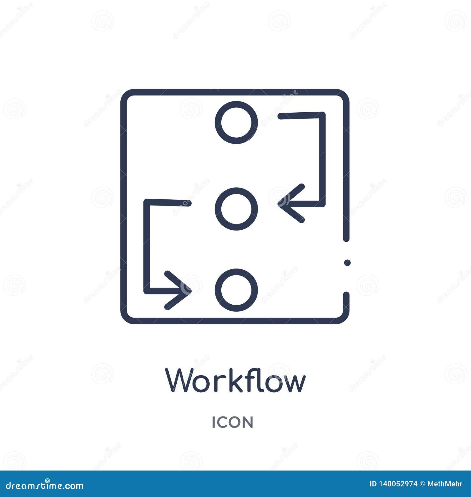 Icona lineare di flusso di lavoro dalla raccolta trattata creativa del profilo Linea sottile vettore di flusso di lavoro isolato