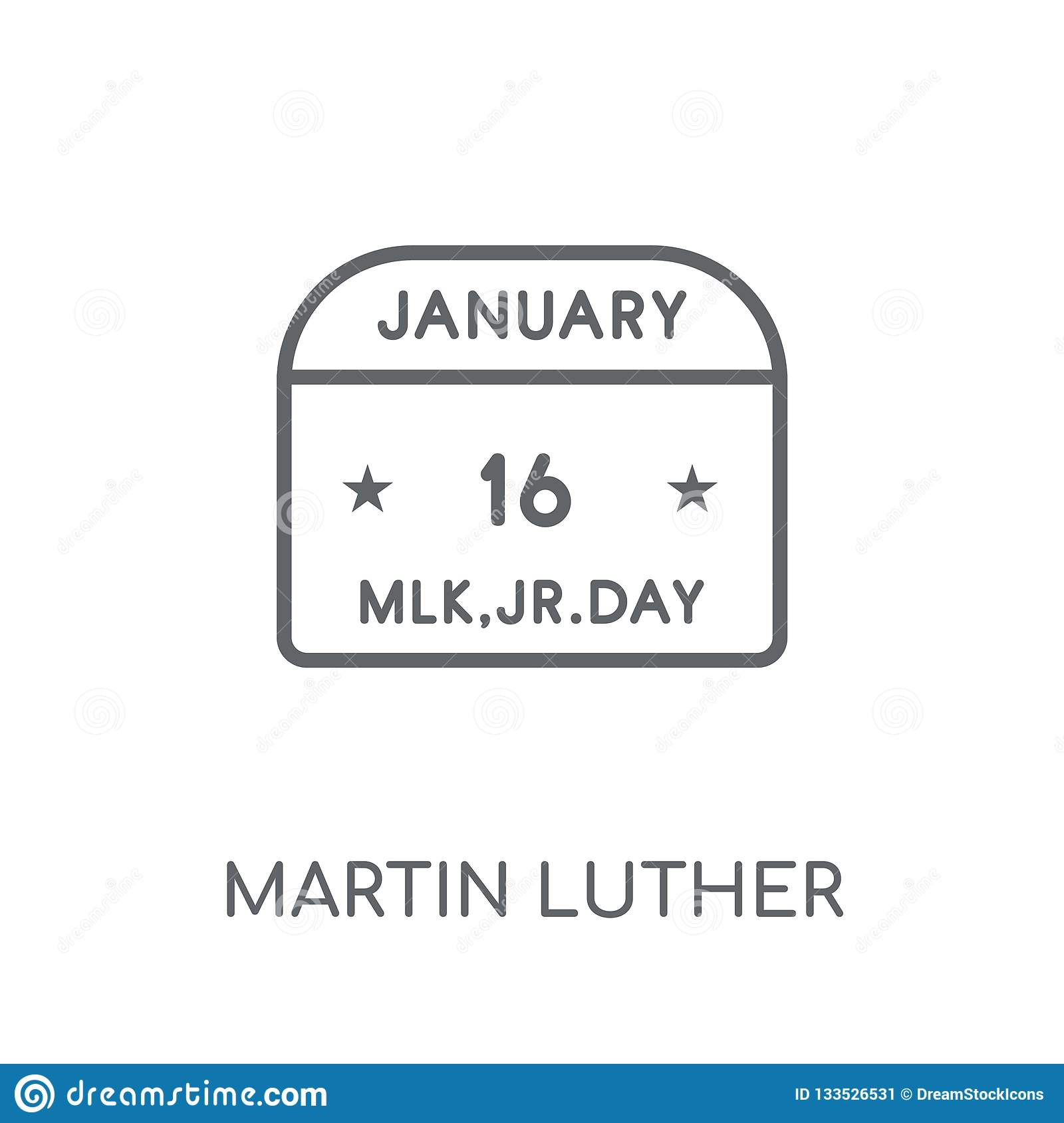 Icona lineare di Martin Luther King Day Profilo moderno Martin Luther