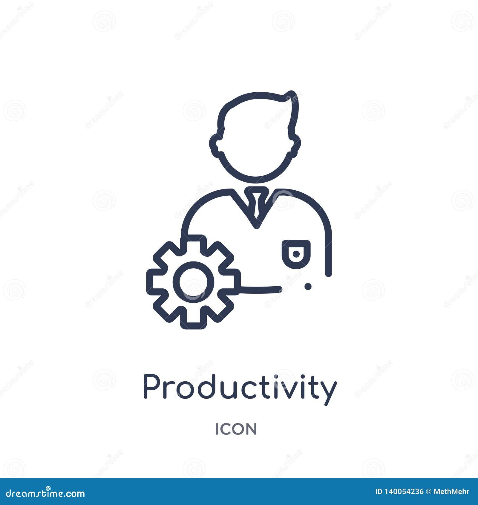 Icona lineare di produttività dalla raccolta del profilo di economia di Digital Linea sottile vettore di produttività isolato su