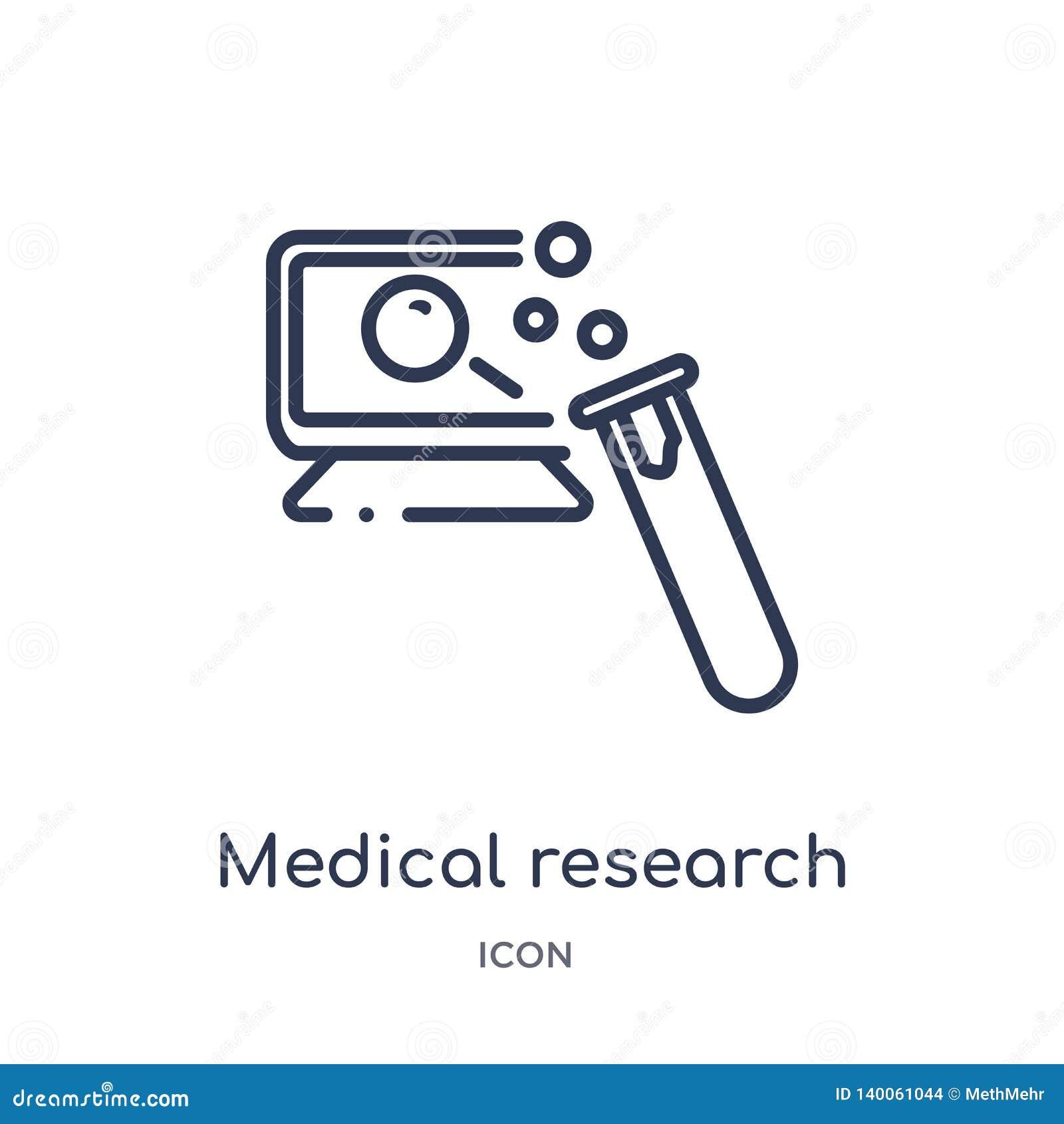 Icona lineare di ricerca medica da sicurezza di Internet e dalla raccolta del profilo della rete Linea sottile icona di ricerca m