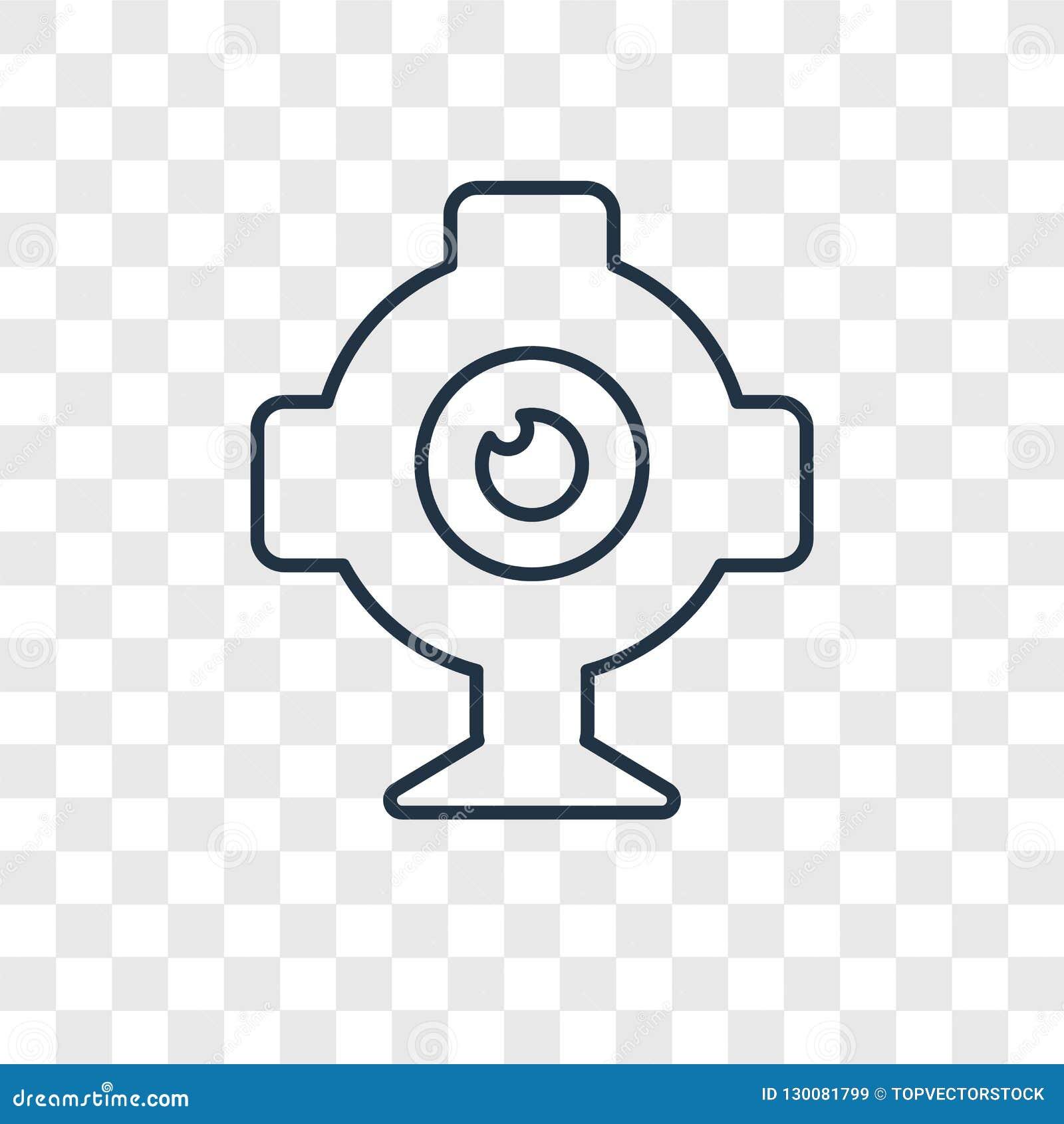 Icona lineare di vettore di concetto del webcam isolata su backgr trasparente
