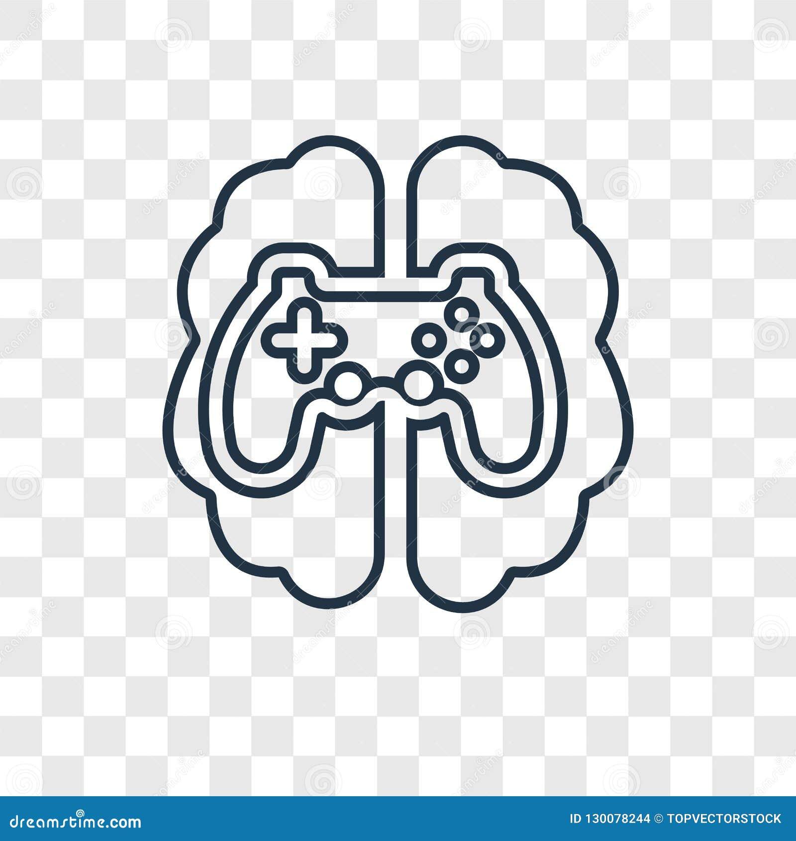 Icona lineare di vettore di concetto di gioco isolata su backgr trasparente