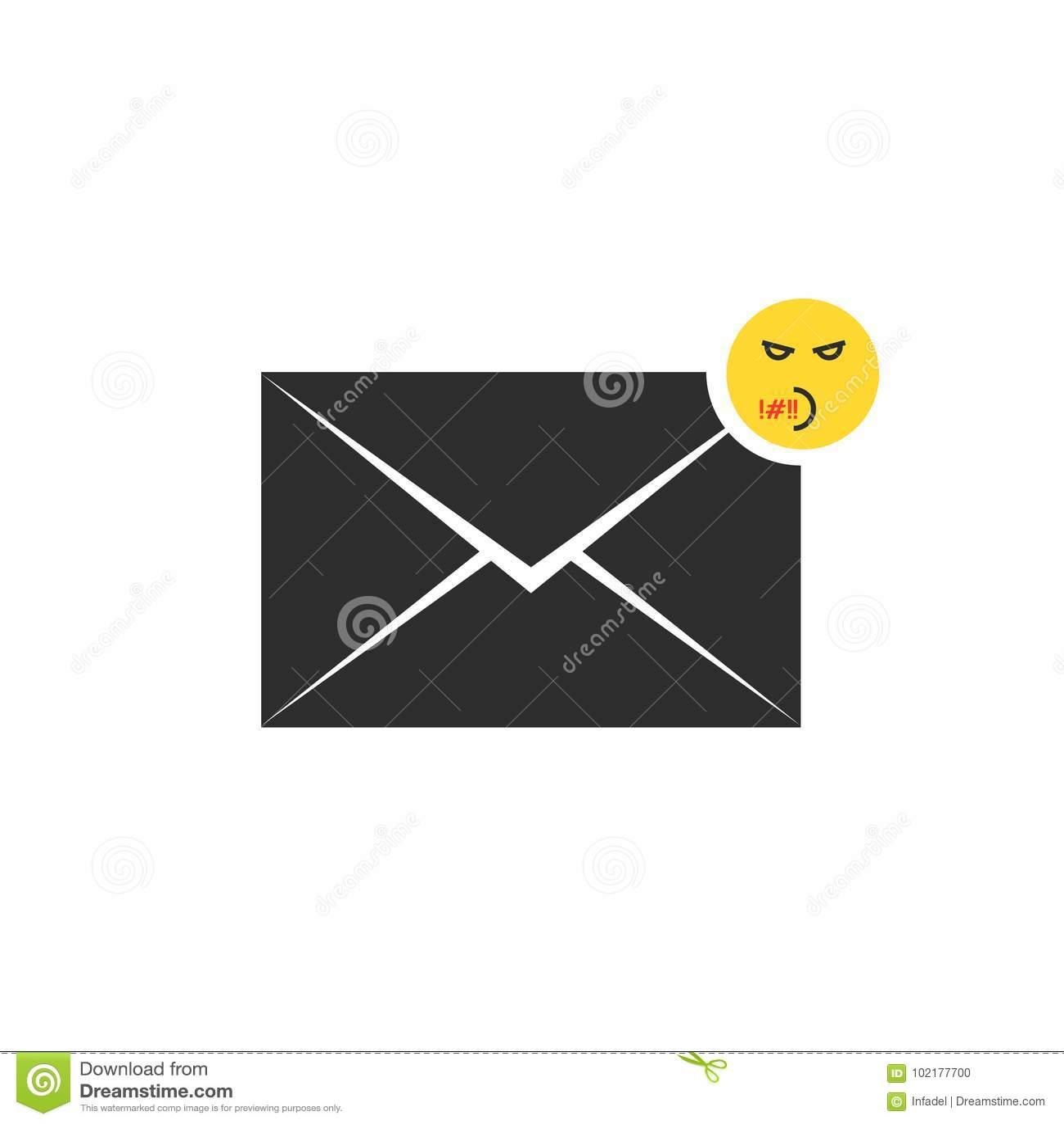 Icona Maleducata Nera Della Lettera Del Messaggio Con Il Emoji