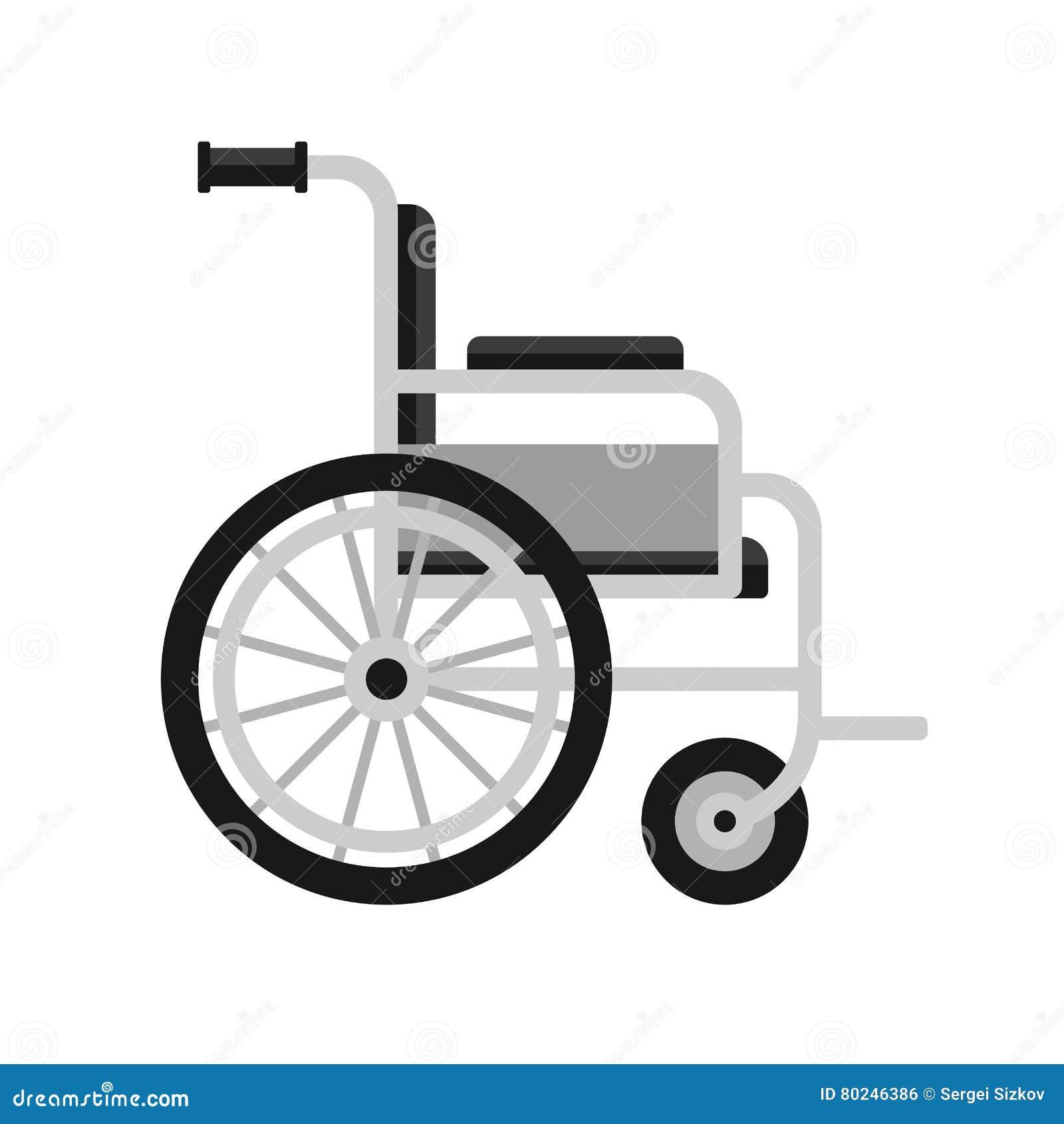 Icona medica della sedia a rotelle su fondo bianco Vettore