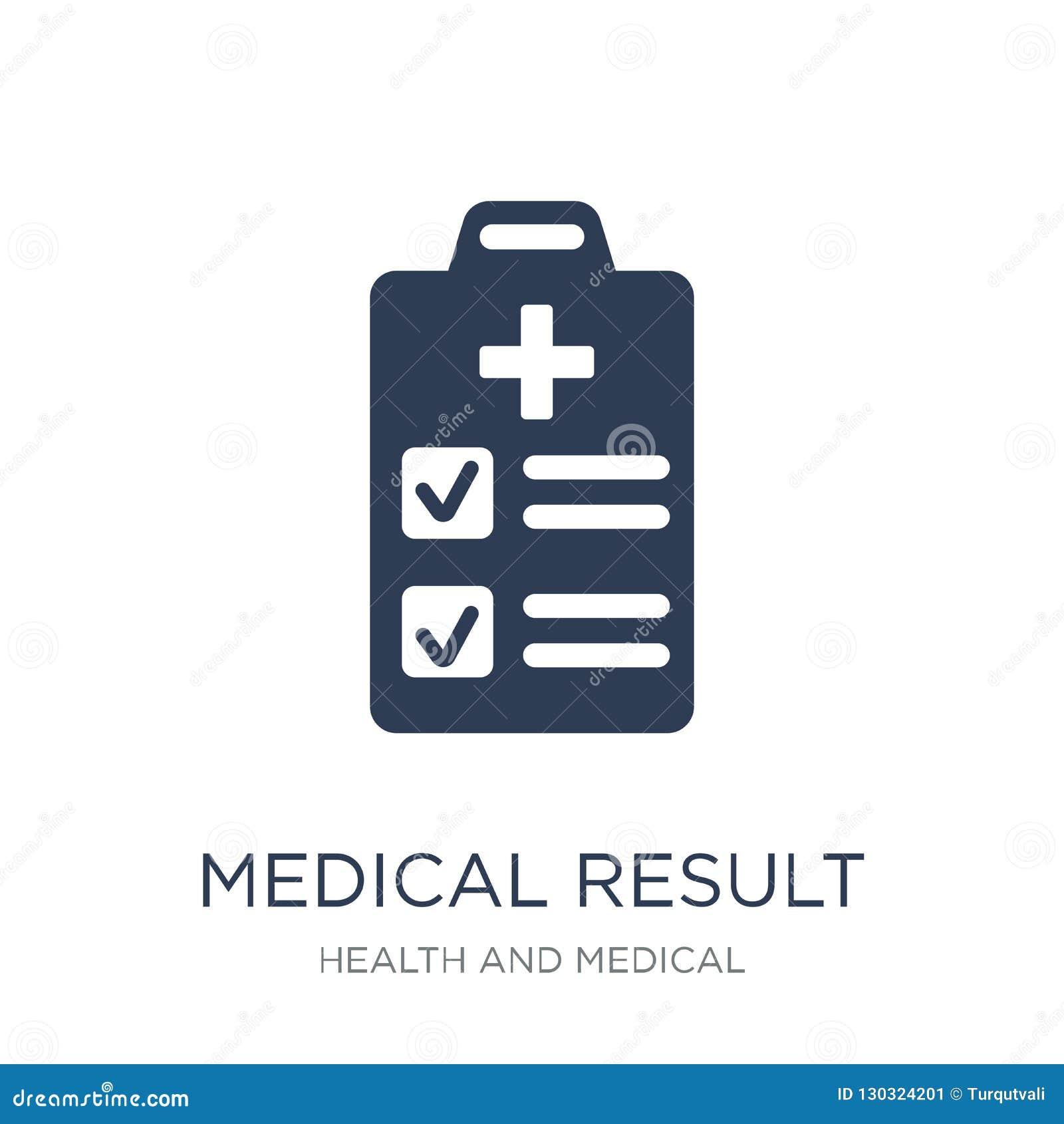 Icona medica di risultato Icona medica di risultato di vettore piano d avanguardia su w