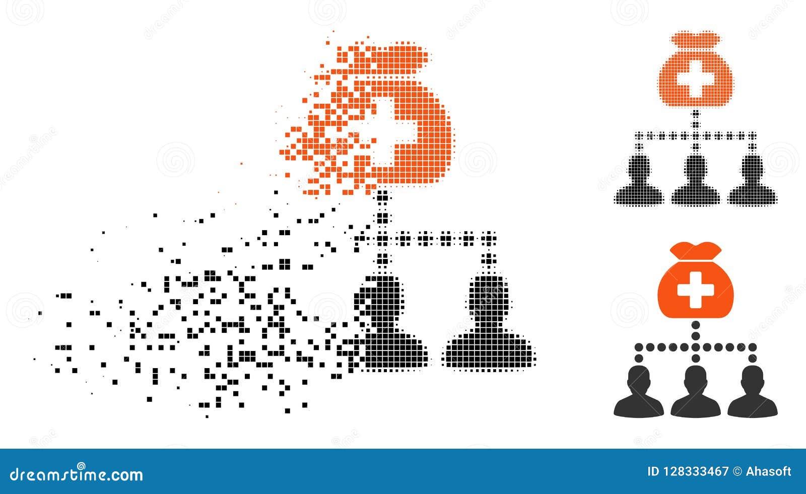 Icona medica di semitono spezzettata dei clienti del fondo del pixel