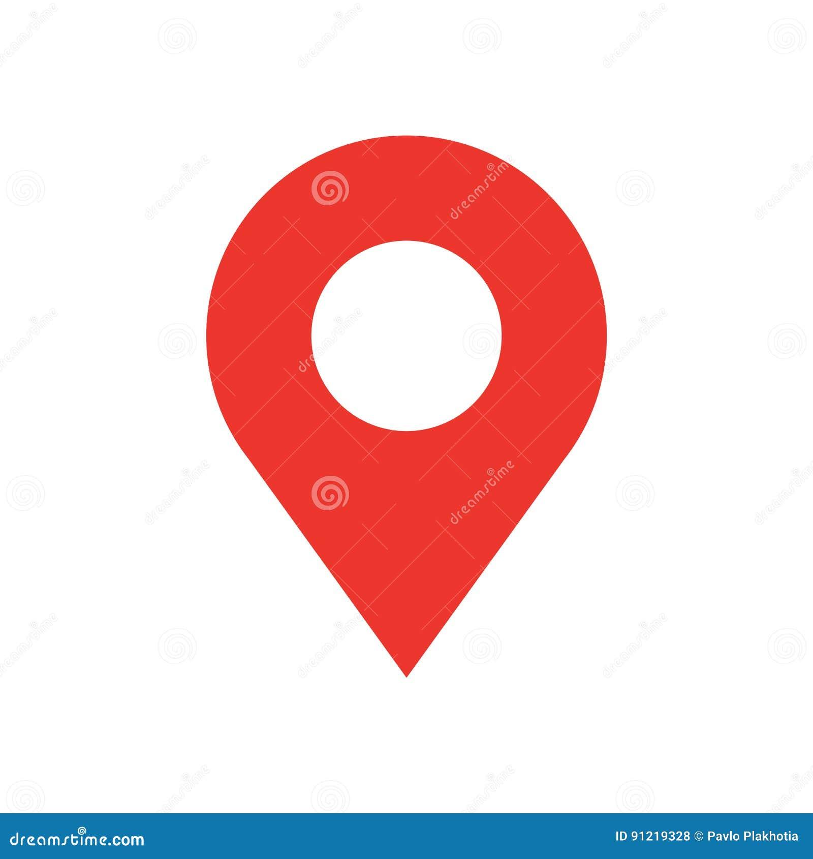 Icona moderna di stile piano di progettazione del perno della mappa Simbolo minimo di vettore del puntatore rosso semplice Segno