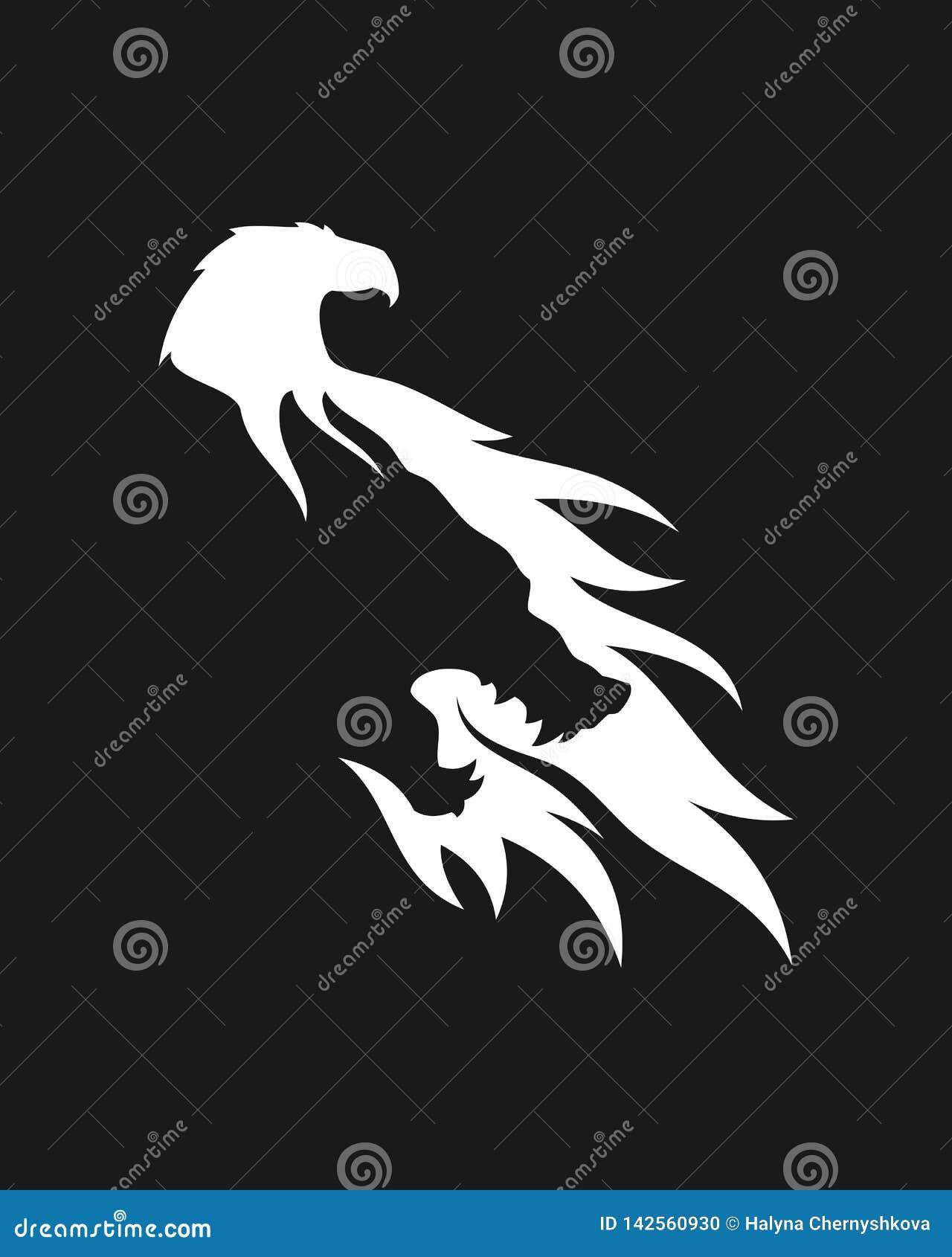 Icona negativa dello spazio della siluetta dell aquila e del lupo