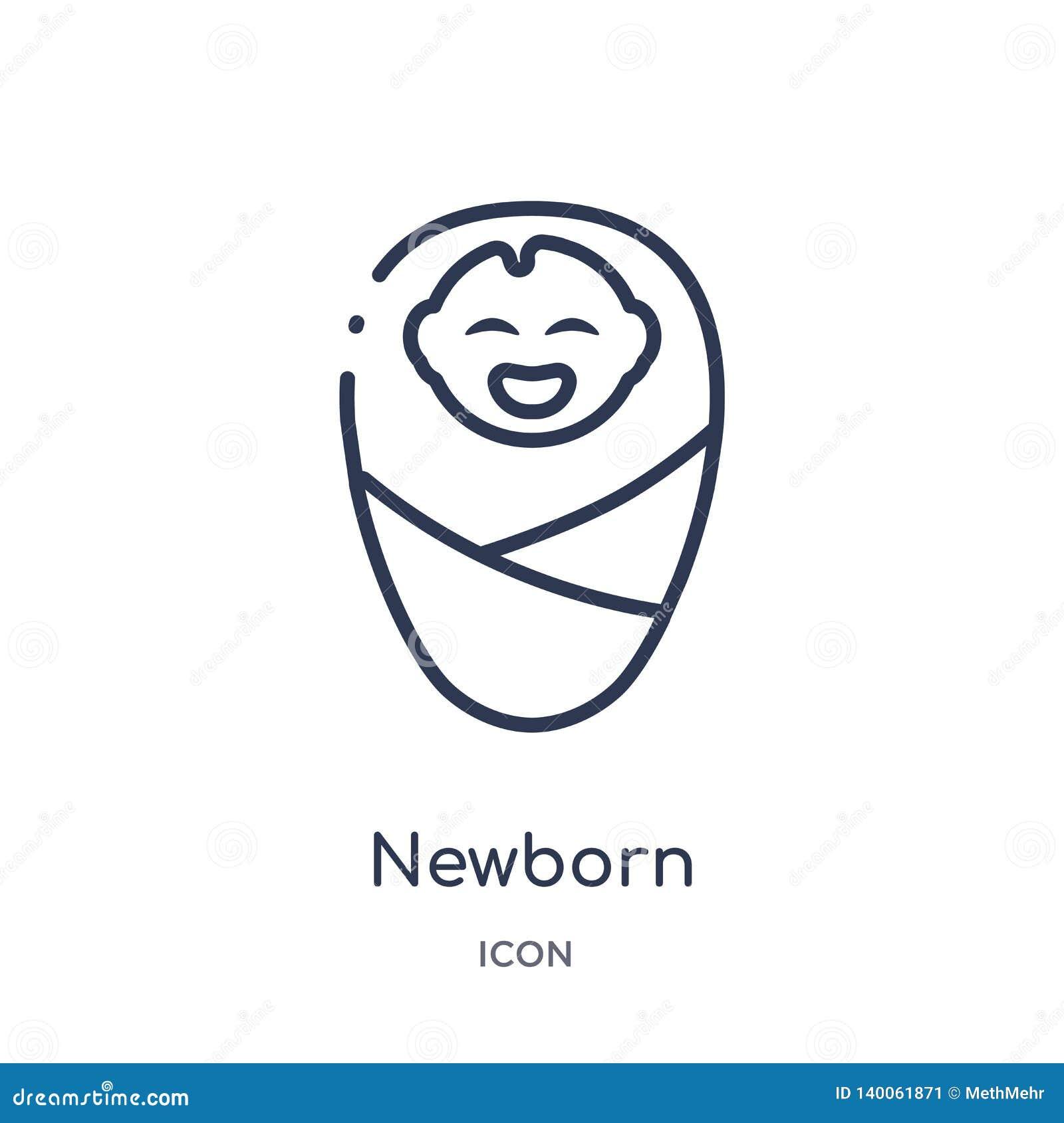 Icona neonata lineare dai bambini e dalla raccolta del profilo del bambino Linea sottile icona neonata isolata su fondo bianco d