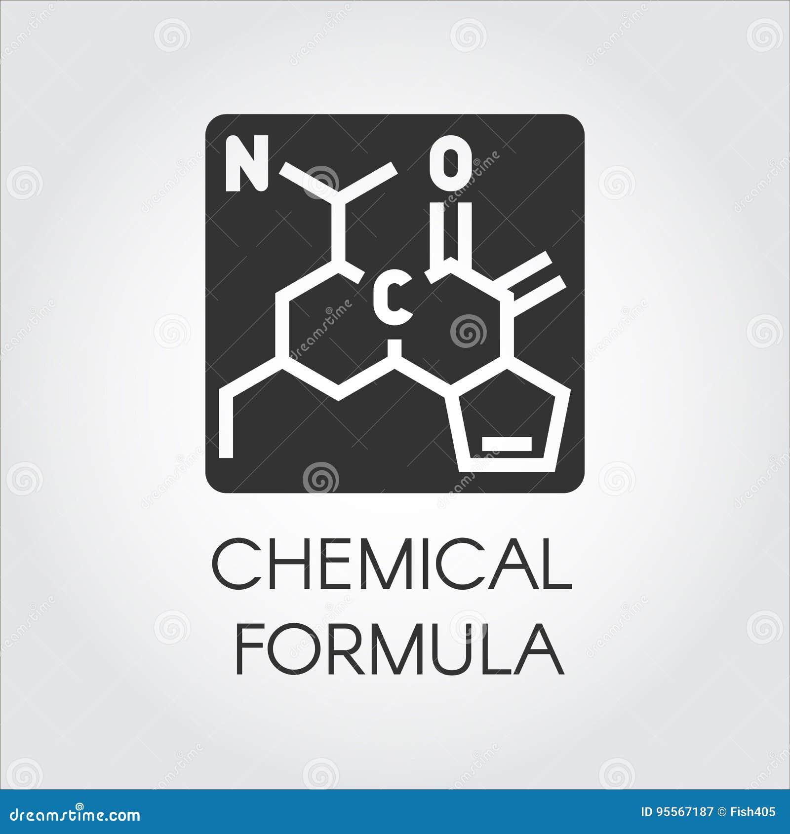 Icona nera della formula chimica nello stile piano Medicina, scienza, biologia, tema di chimica Contrassegno di vettore