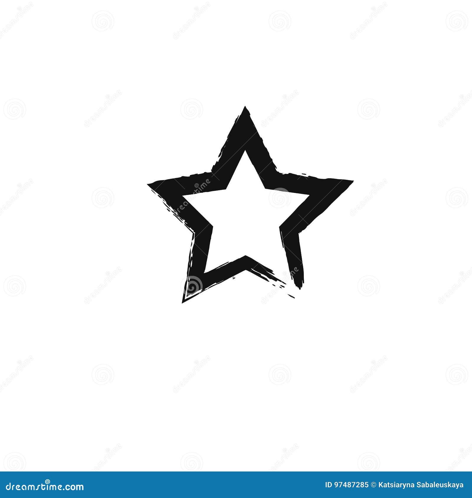 Icona nera della stella dell acquerello