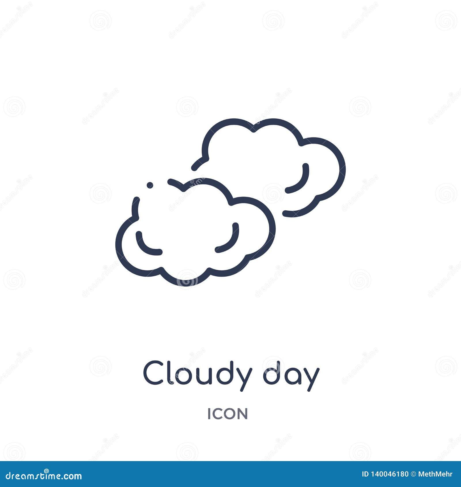 Icona nuvolosa lineare di giorno dalla raccolta del profilo del terminale di aeroporto Linea sottile vettore nuvoloso di giorno i