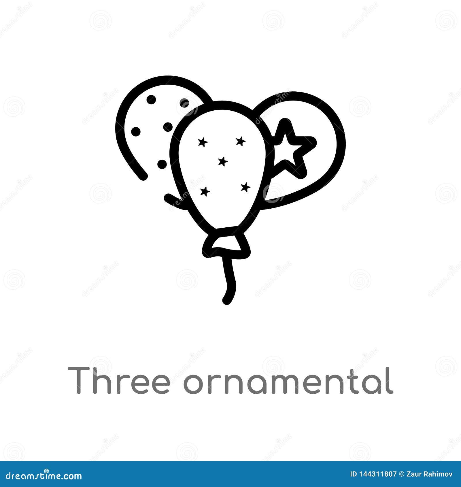 Icona ornamentale di vettore dei palloni del profilo tre linea semplice nera isolata illustrazione dell elemento dal concetto del