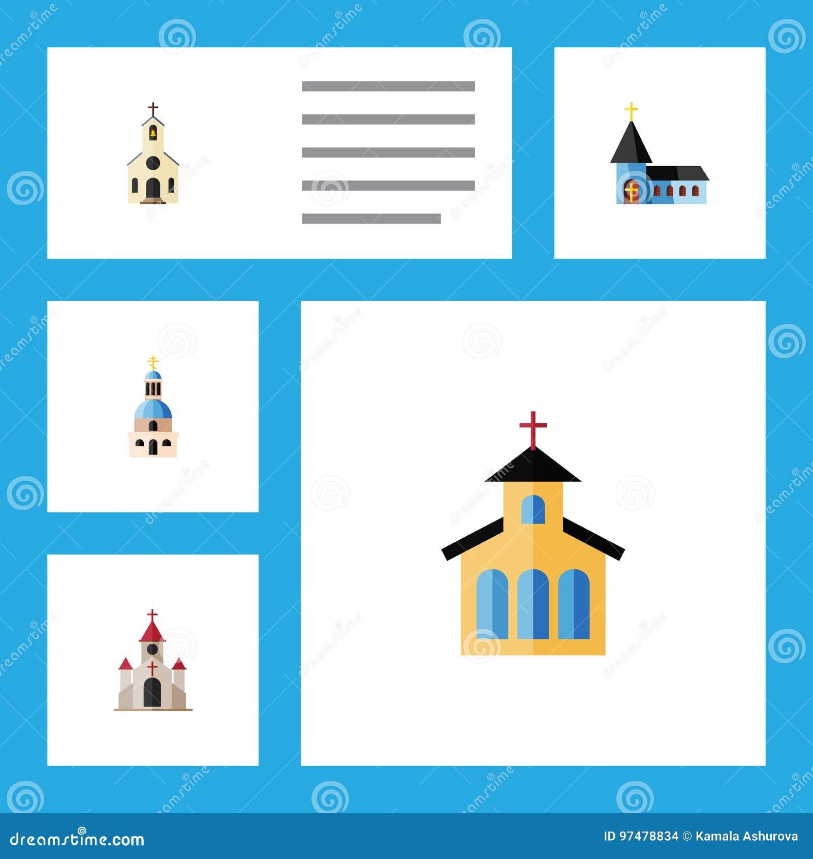Icona piana Christian Set Of Church