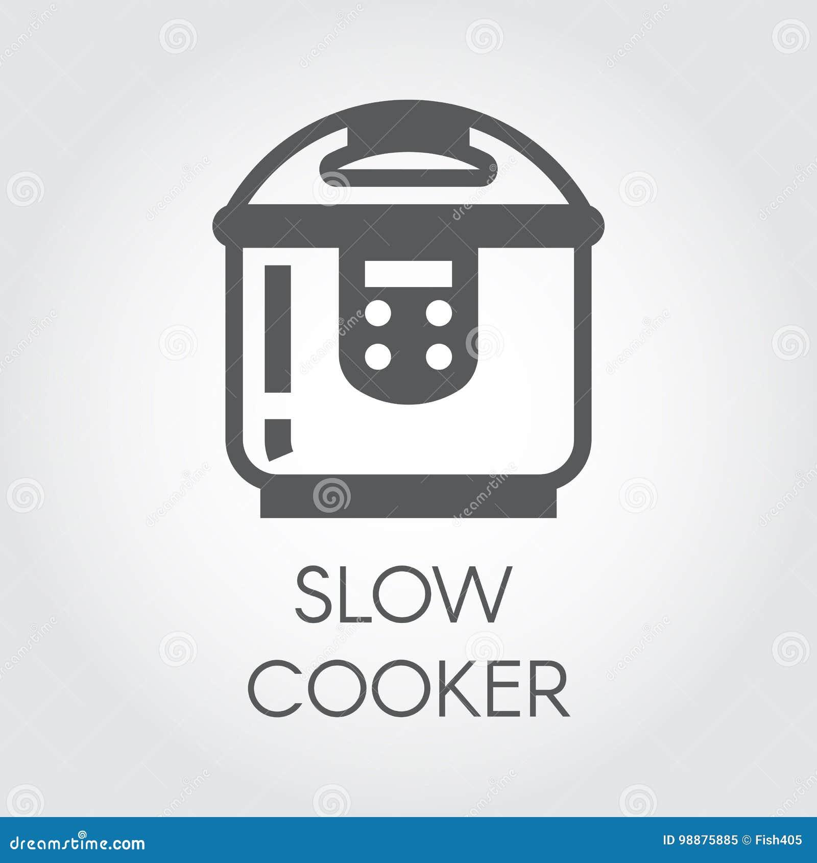 Icona piana del fornello lento Immagine grafica elettronica del vaso o del vapore del pulviscolo Etichetta dell elettrodomestico