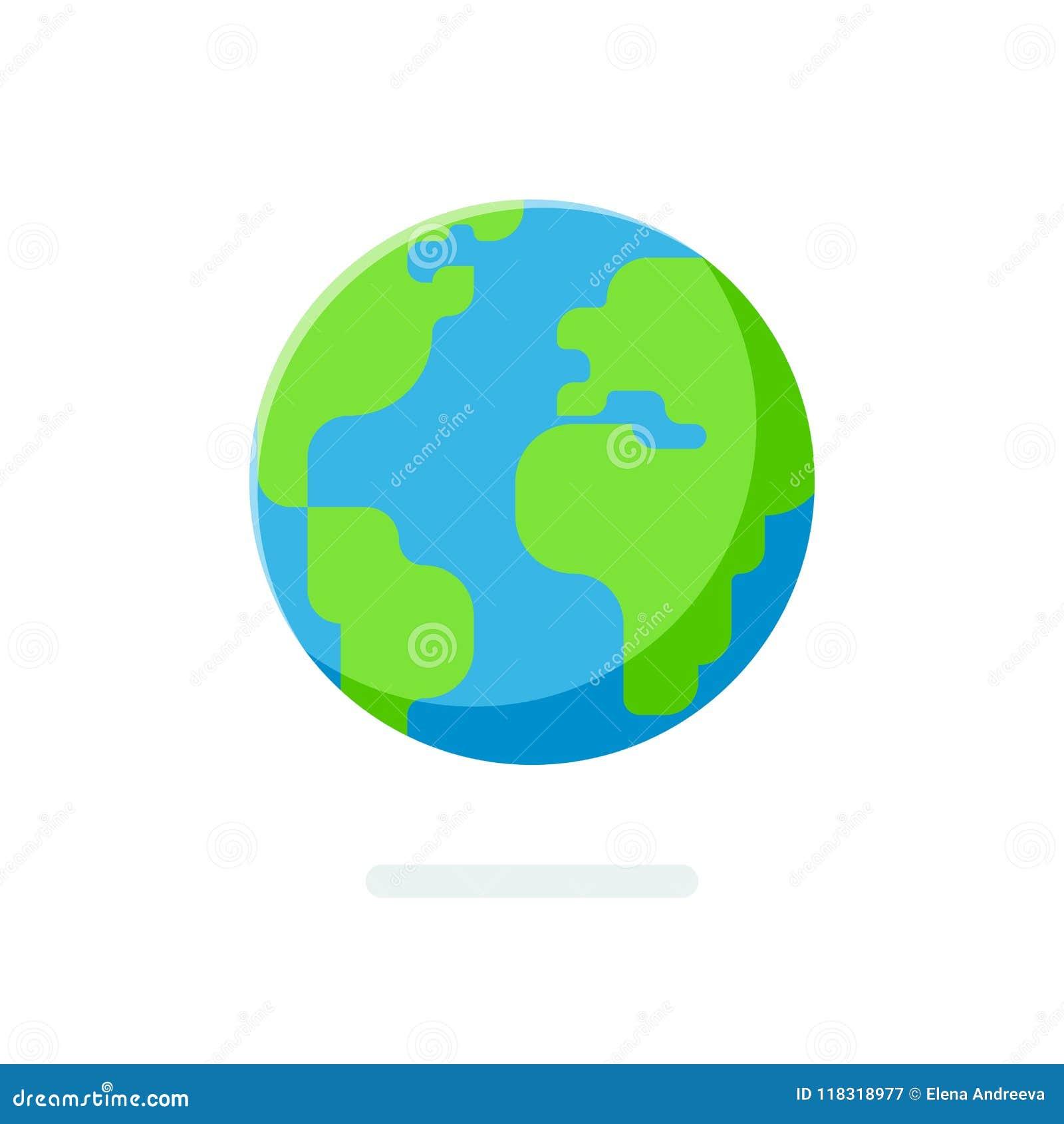 Icona piana del globo della terra di stile Mappa di mondo sferica isolata