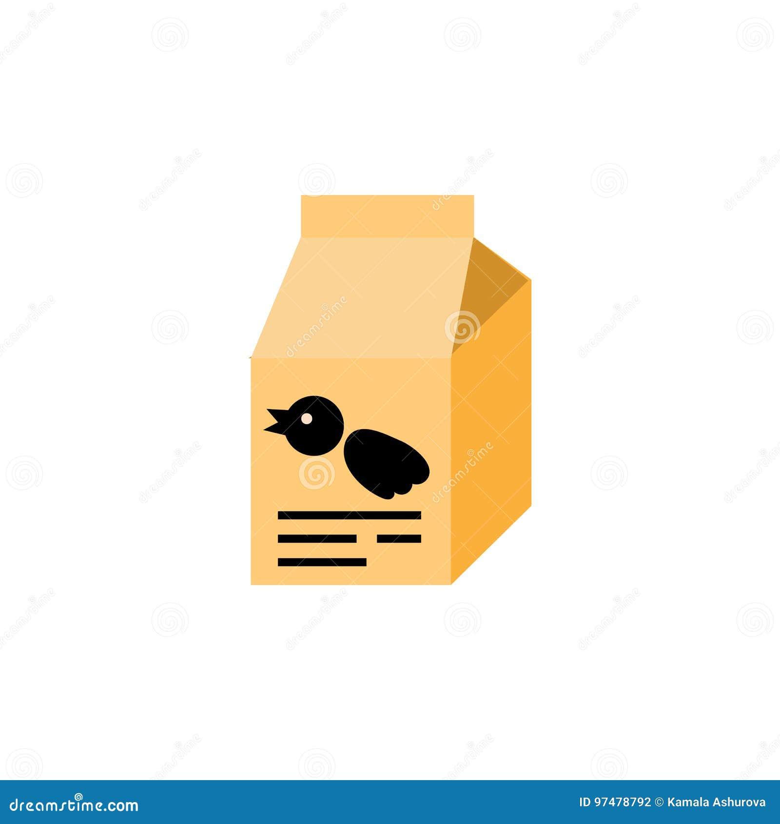 Icona piana del pasto del passero L elemento di vettore della scatola di nutrizione può essere usato per l uccello, l alimento, c