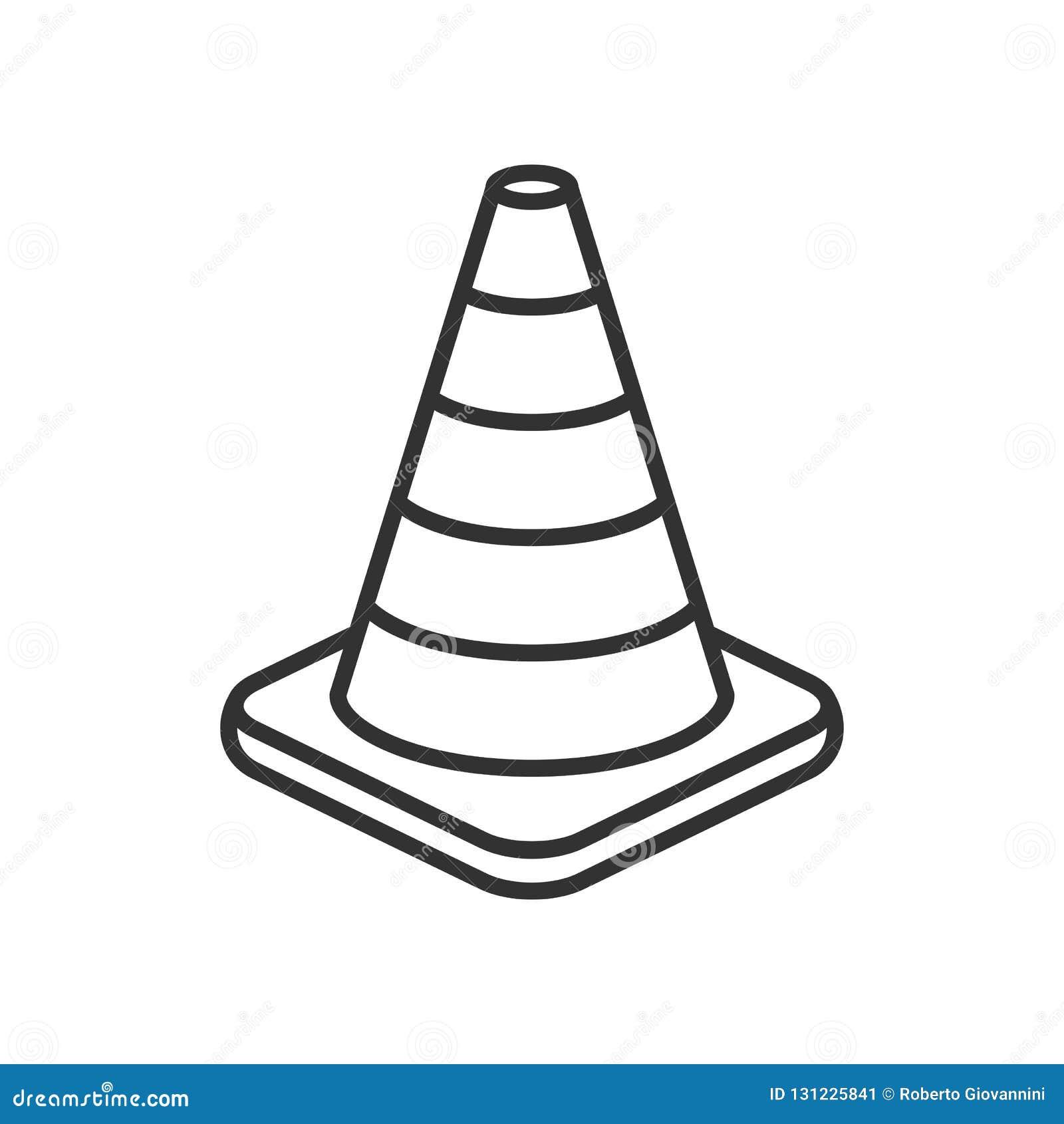 Icona piana del profilo del cono di traffico su bianco