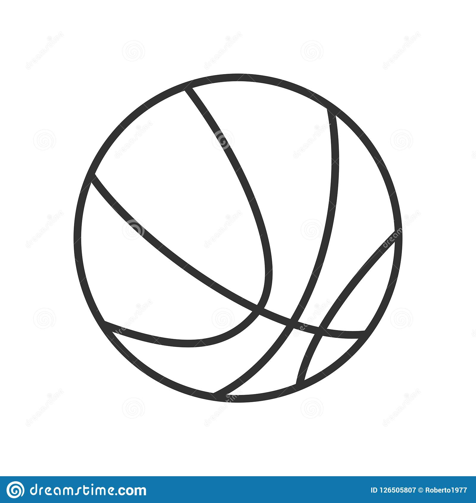Icona piana del profilo della palla di pallacanestro su bianco