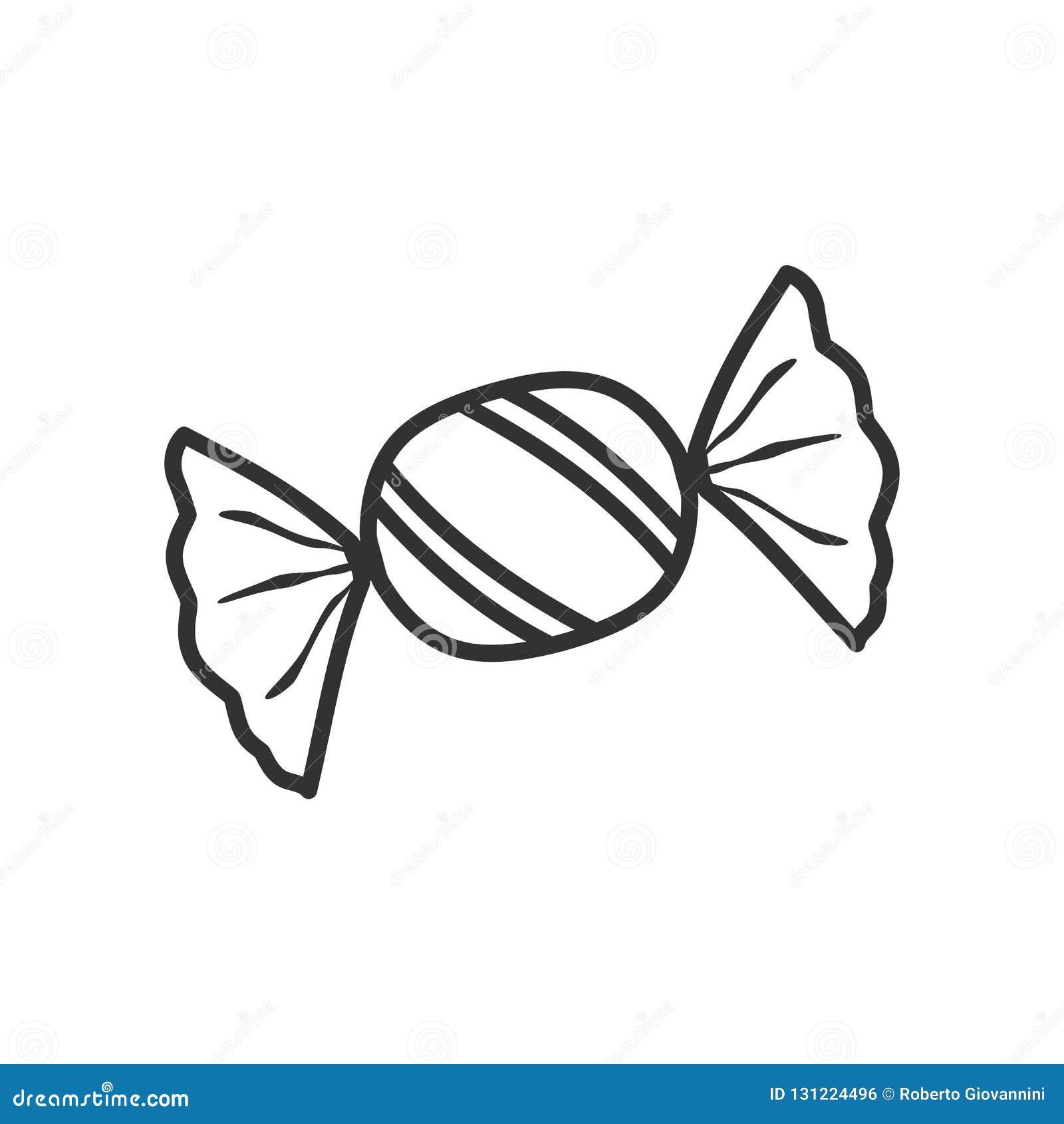 Icona piana del profilo dolce di Candy su bianco