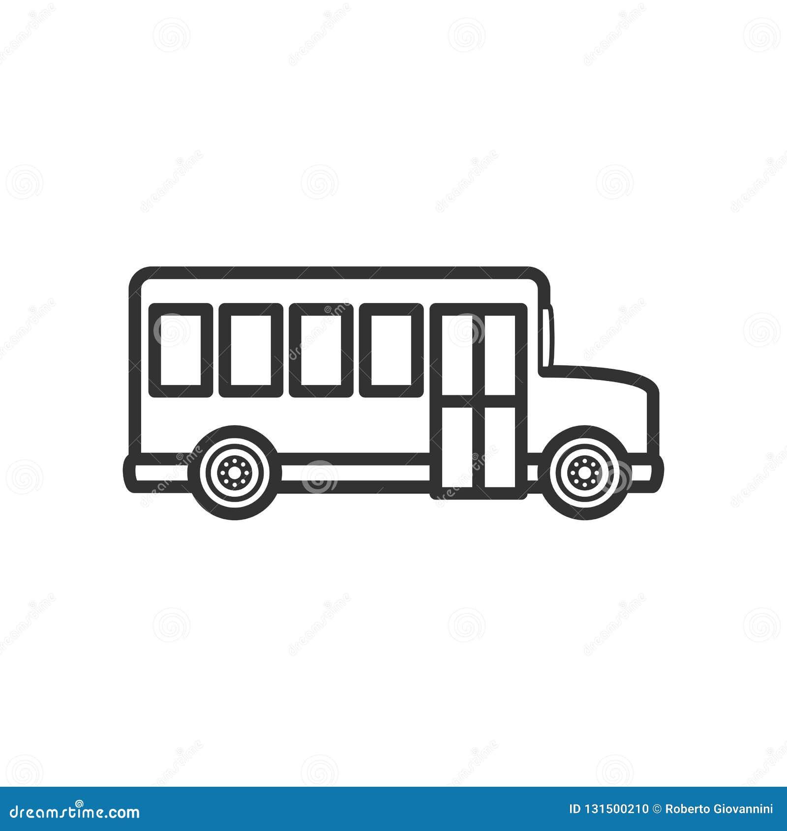 Icona piana del profilo del lato dello scuolabus su bianco