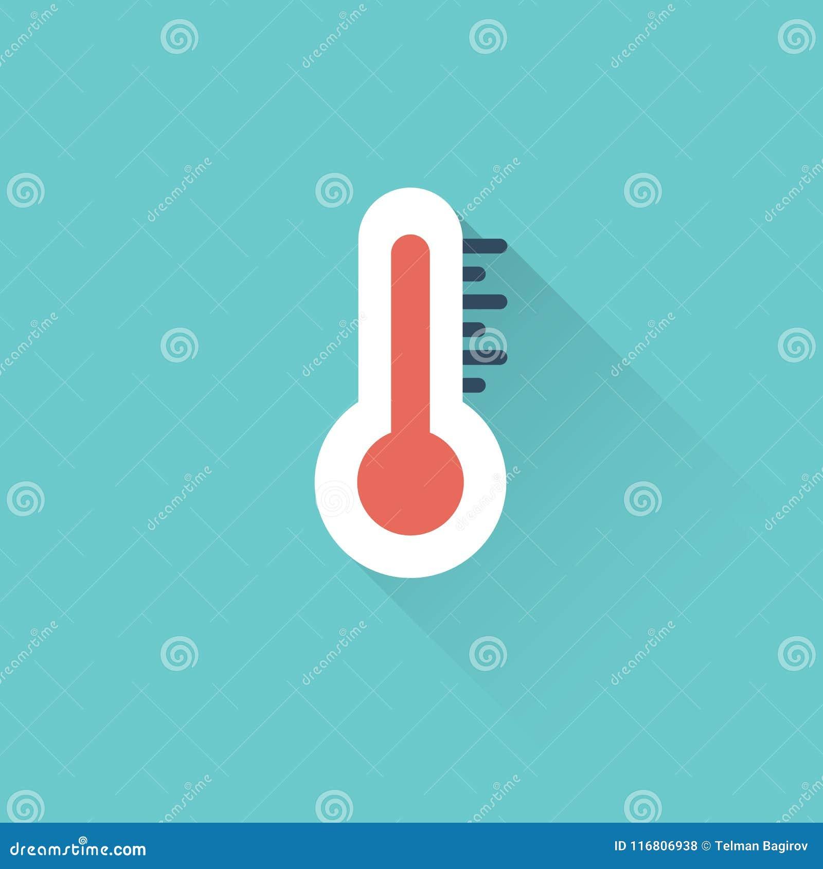 Icona piana del termometro su fondo blu