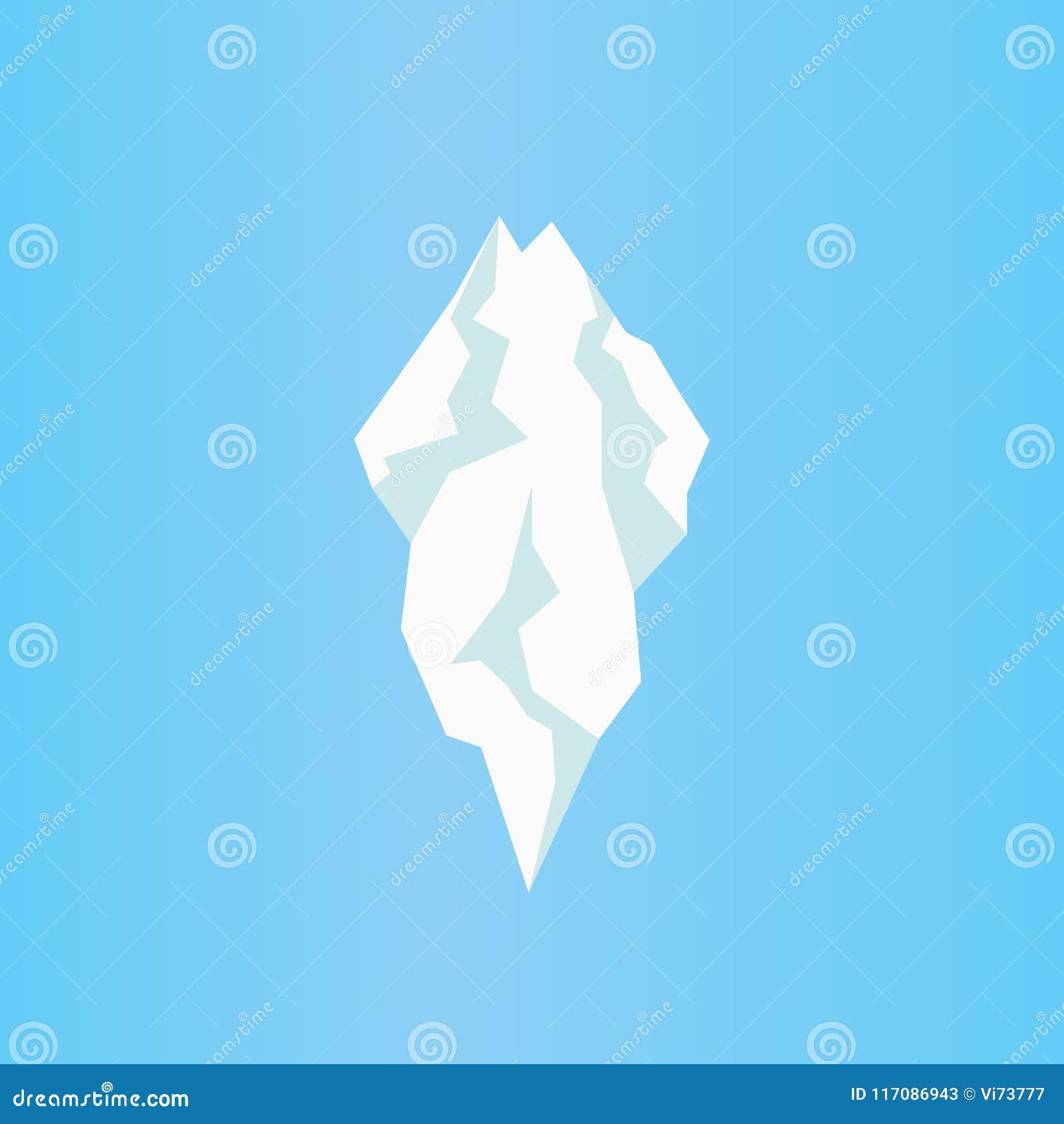 Icona piana dell iceberg Vettore isolato del ghiacciolo