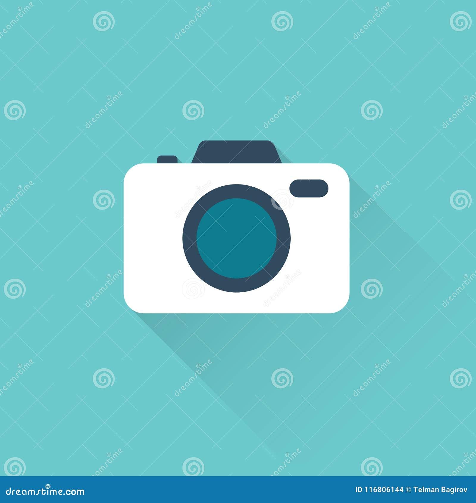 Icona piana della macchina fotografica su fondo blu