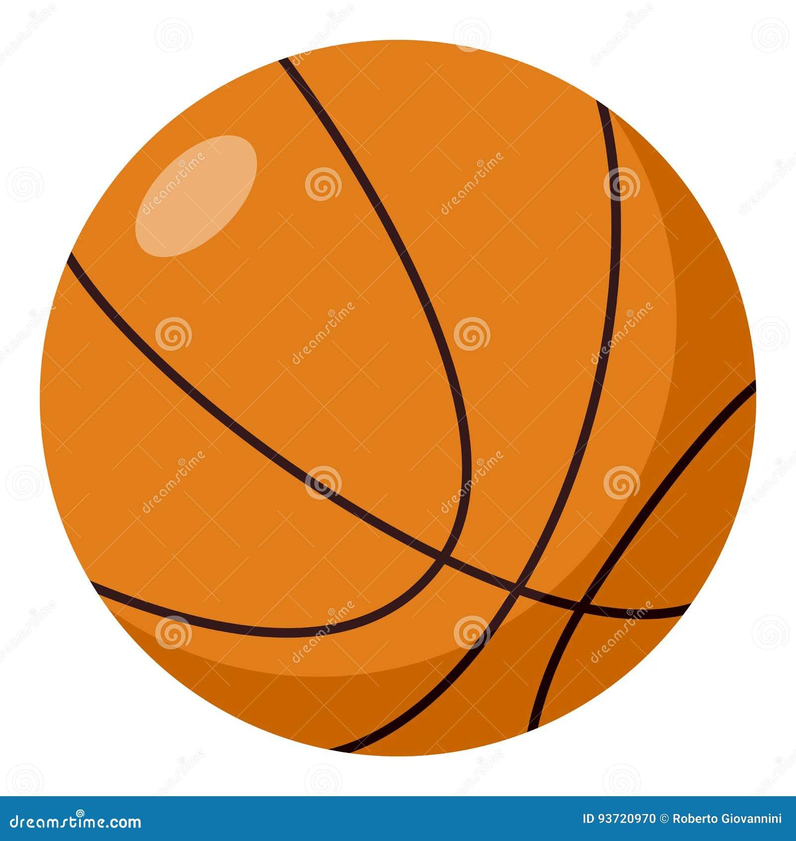 Icona piana della palla di pallacanestro isolata su bianco