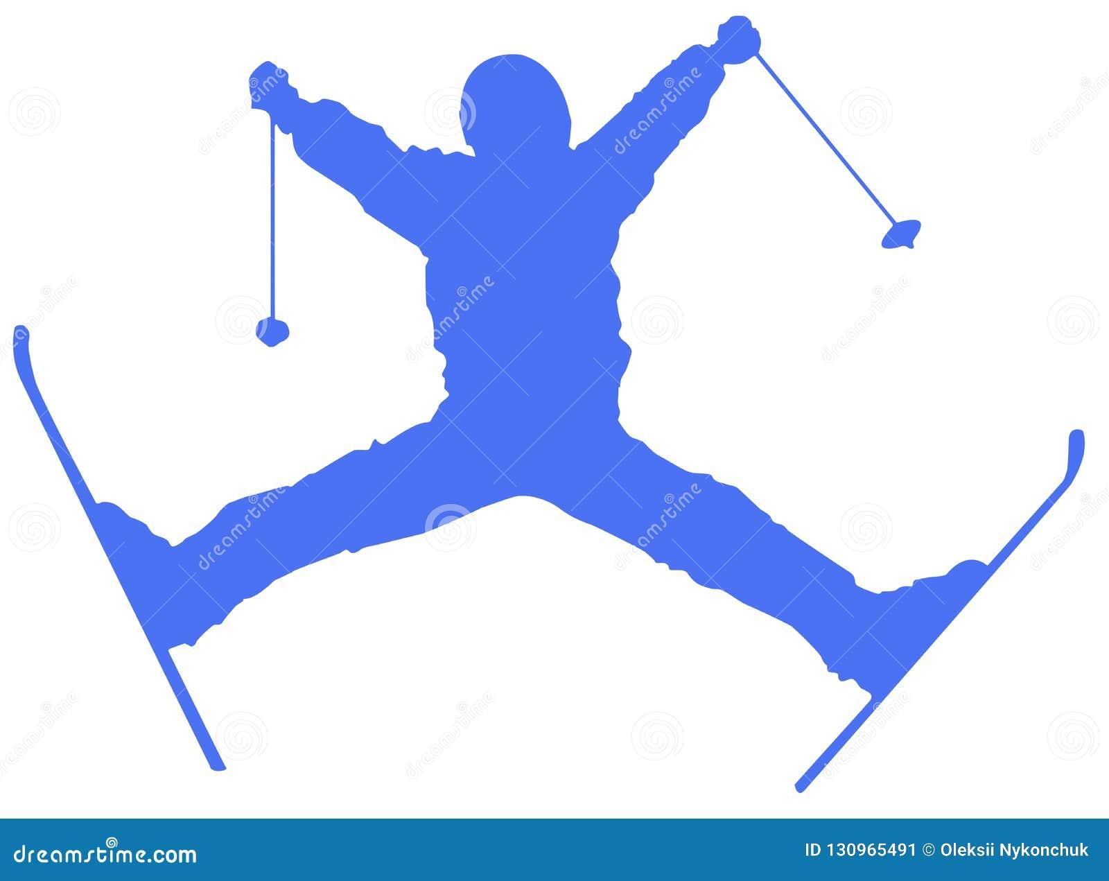 Icona piana dello sciatore blu su fondo bianco