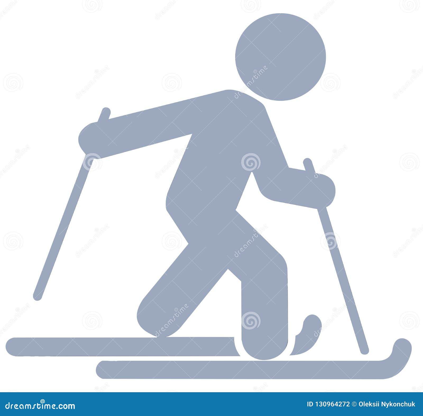 Icona piana dello sciatore d argento su fondo bianco