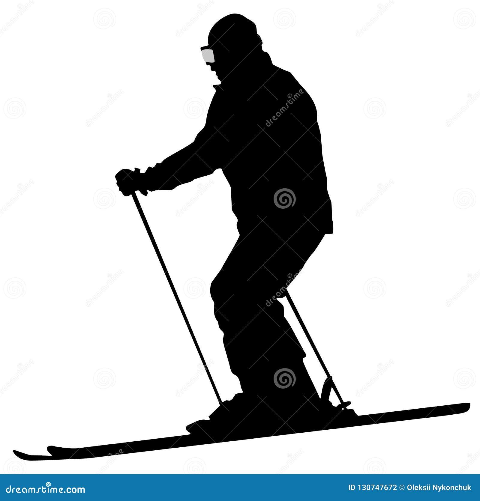 Icona piana dello sciatore nero su fondo bianco