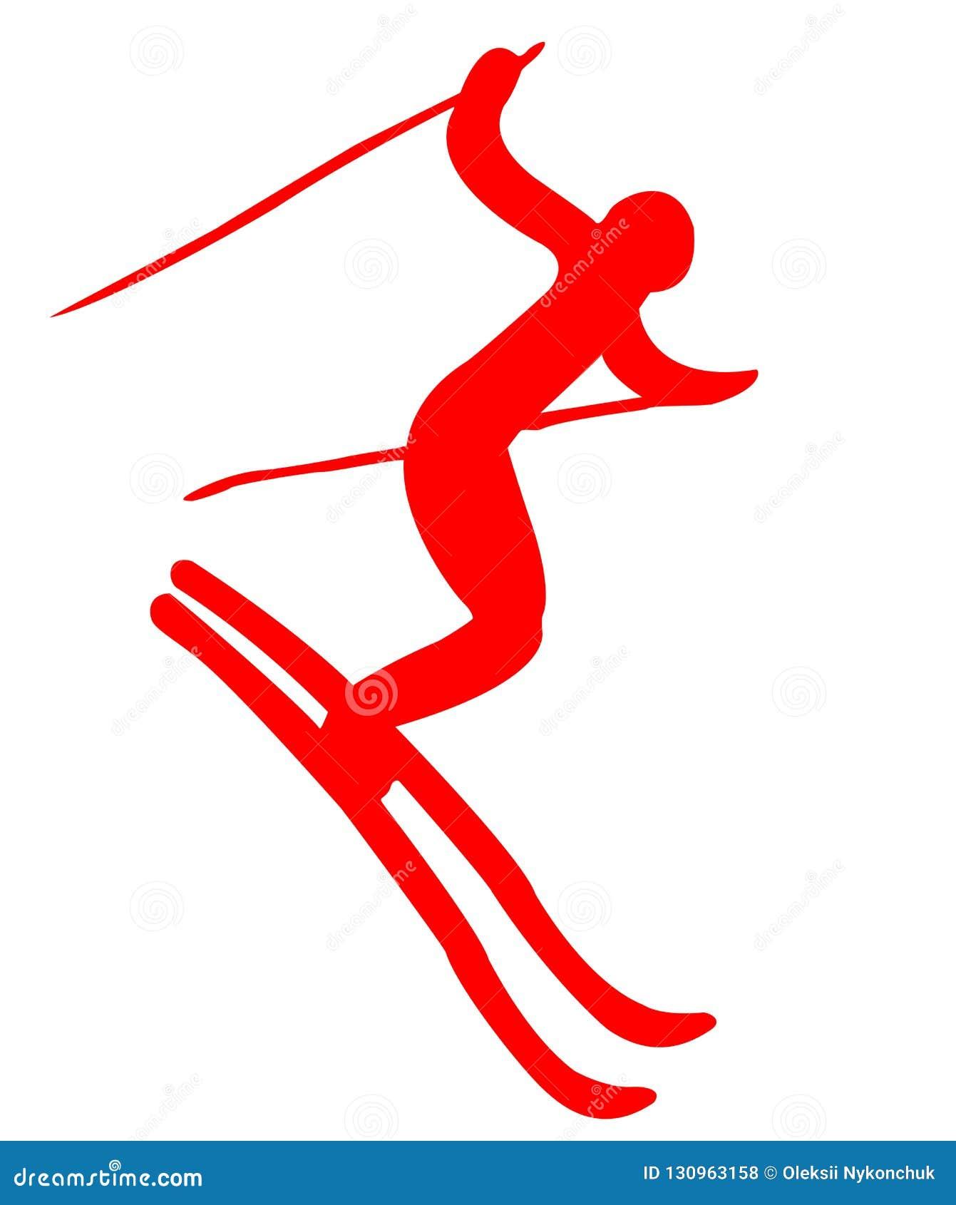 Icona piana dello sciatore rosso su fondo bianco