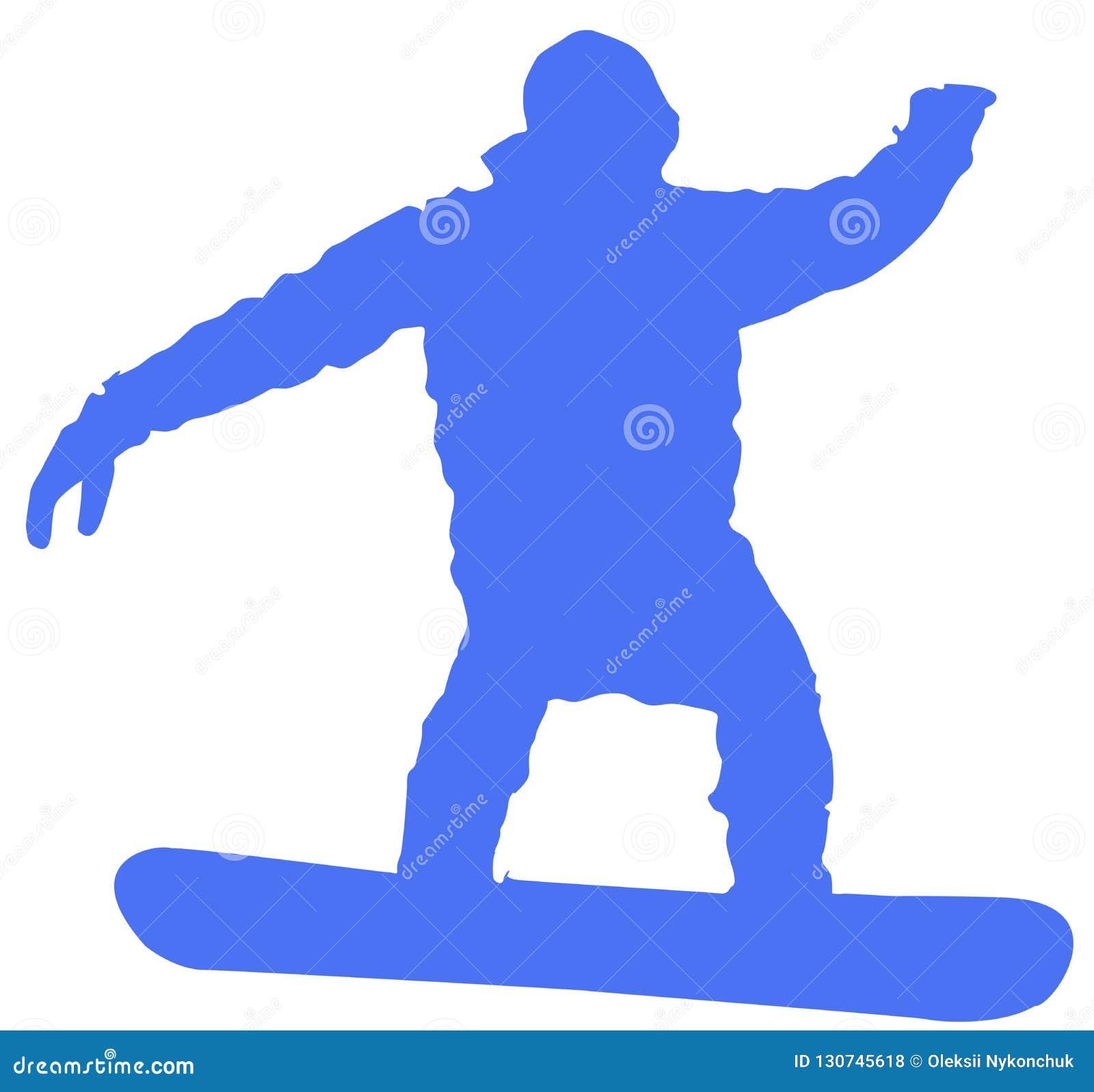 Icona piana dello Snowboarder blu su fondo bianco