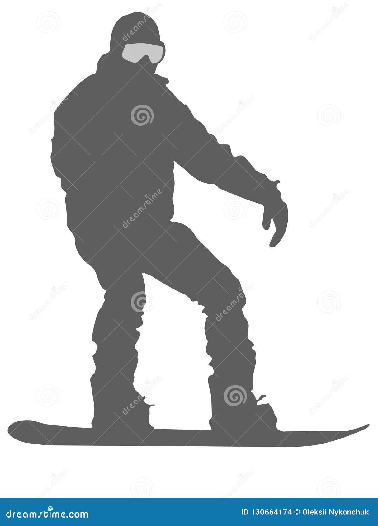 Icona piana dello Snowboarder d argento su fondo bianco
