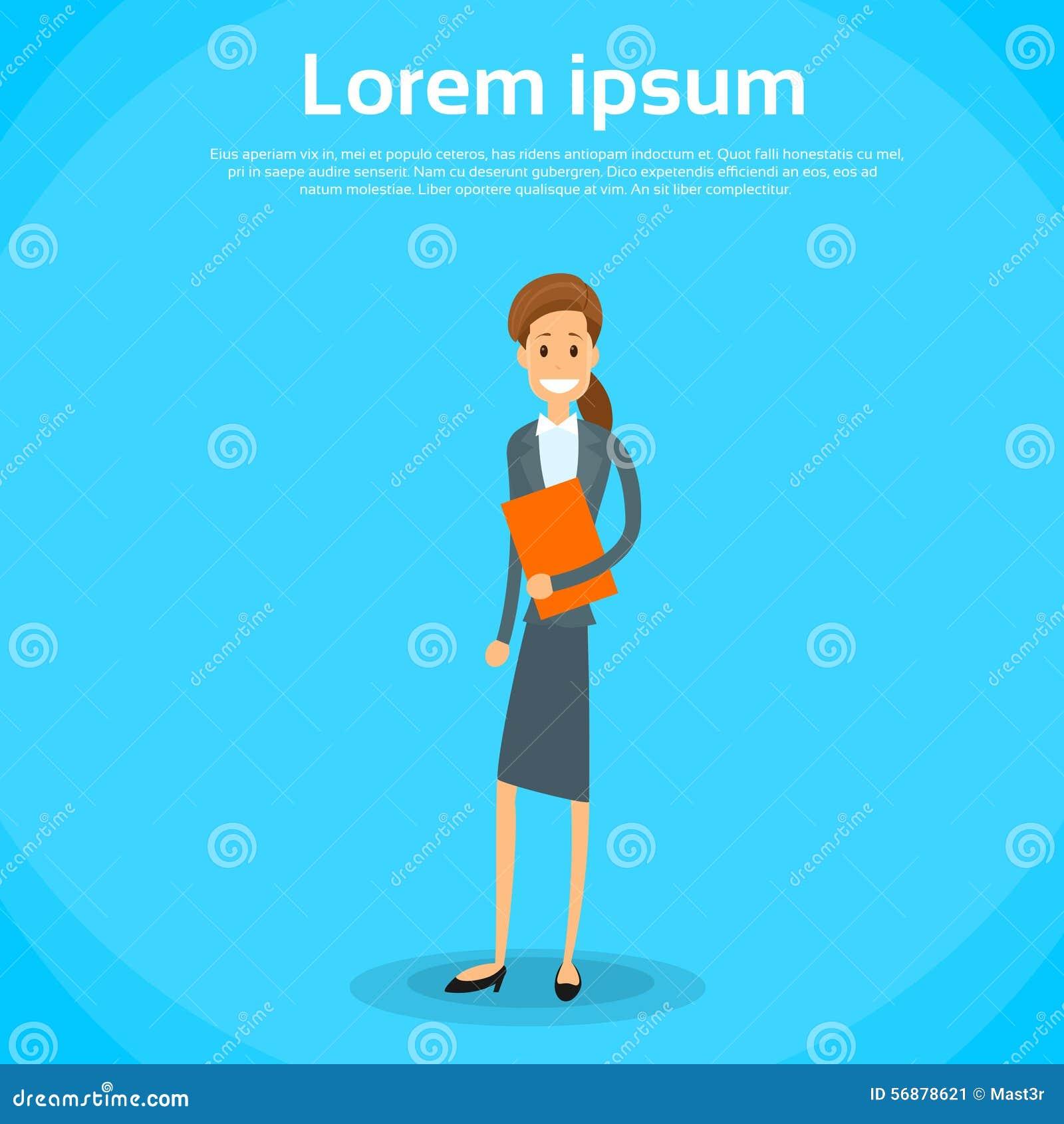 Icona piana di Document Full Length della donna di affari
